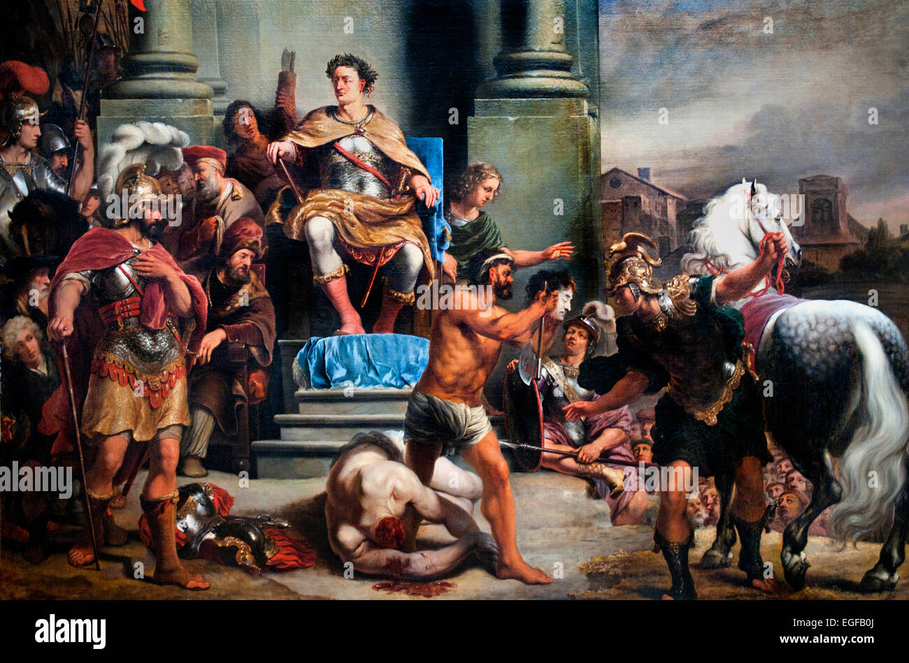 Consul Titus Manlius Torquatus Orders the Beheading of his Son, Ferdinand Bol, 1661 - 1664  Ferdinand Bol 1616-1680 - Stock Image
