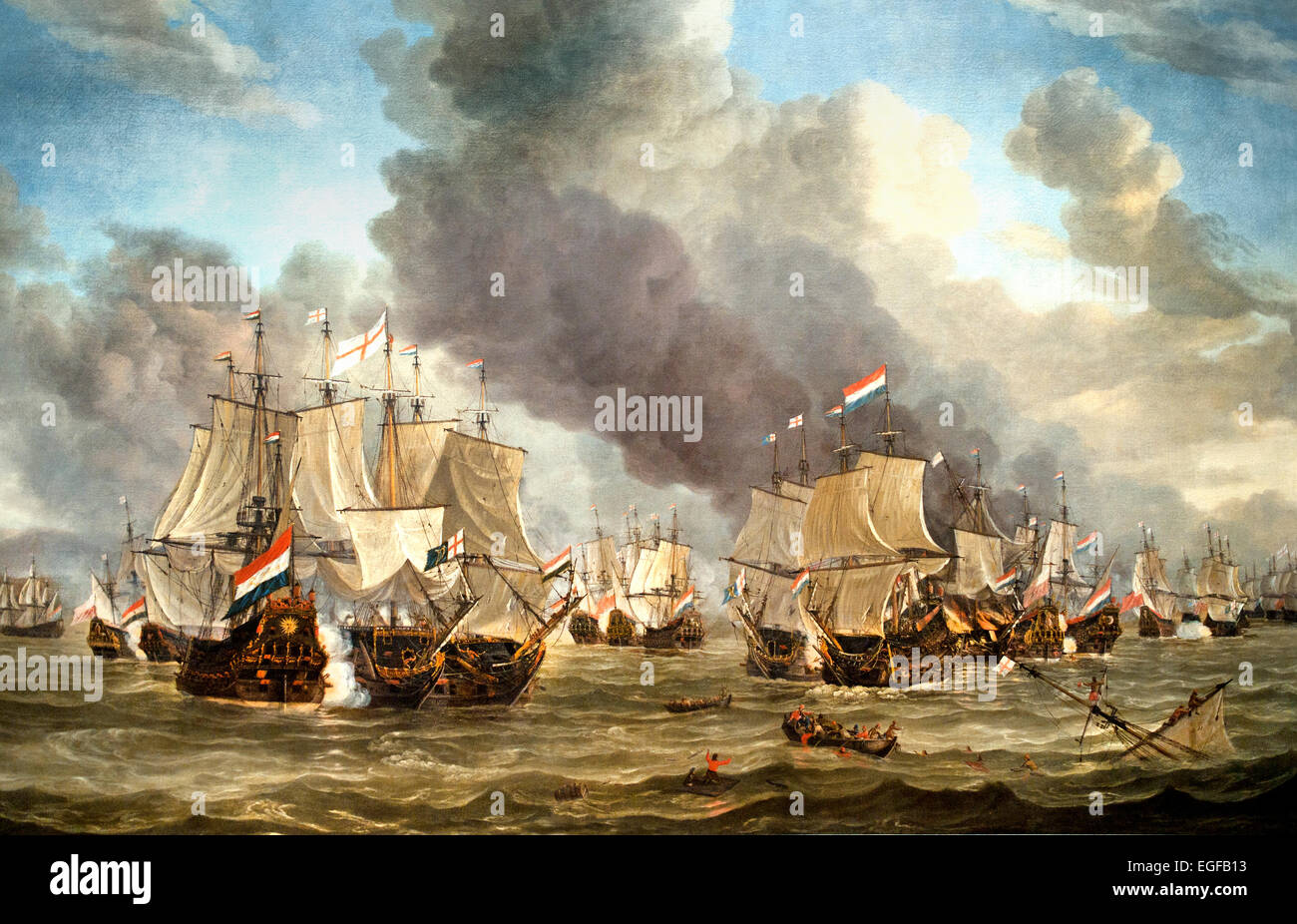 The Battle of Livorno 1653 - 1664  Reinier Nooms  Dutch Netherlands ( The battle between the Dutch and English fleets - Stock Image