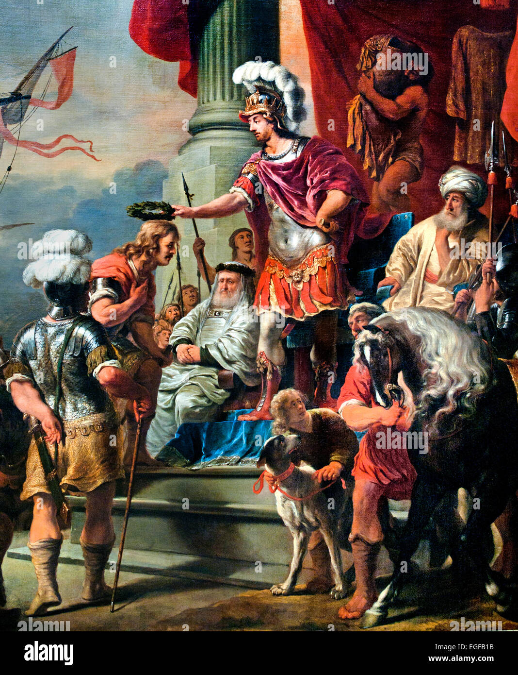 Aeneas at the Court of Latinus 1661 Ferdinand Bol 1616-1680 Dutch Netherlands (  Virgil's Aeneid. Aeneas congratulates - Stock Image