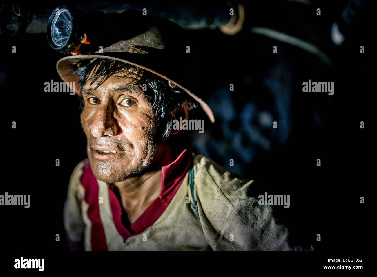 Portrait of Vicente, The Mines of Cerro Rico, Potosi, Southern Altiplano, Bolivia - Stock Image