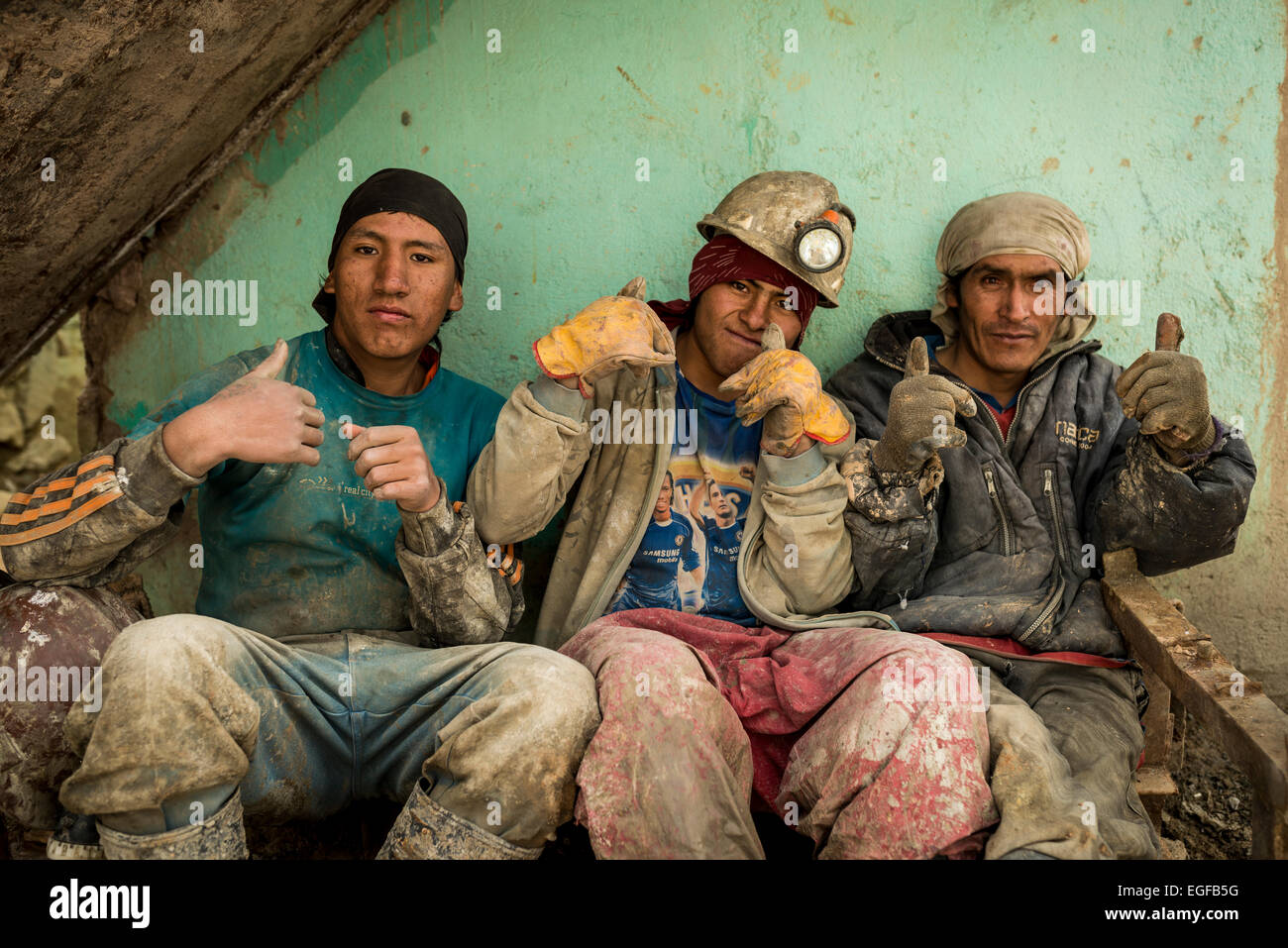 Portrait of Luiz (Centre) with 2 other miners, The Mines of Cerro Rico, Potosi, Southern Altiplano, Bolivia - Stock Image