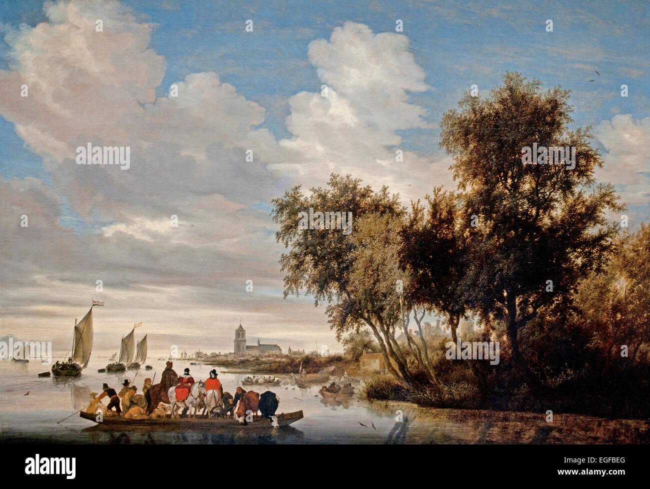 River Landscape with Ferry 1649 Salomon Jacobsz. van Ruysdael 1600-1670 Dutch Netherlands Stock Photo
