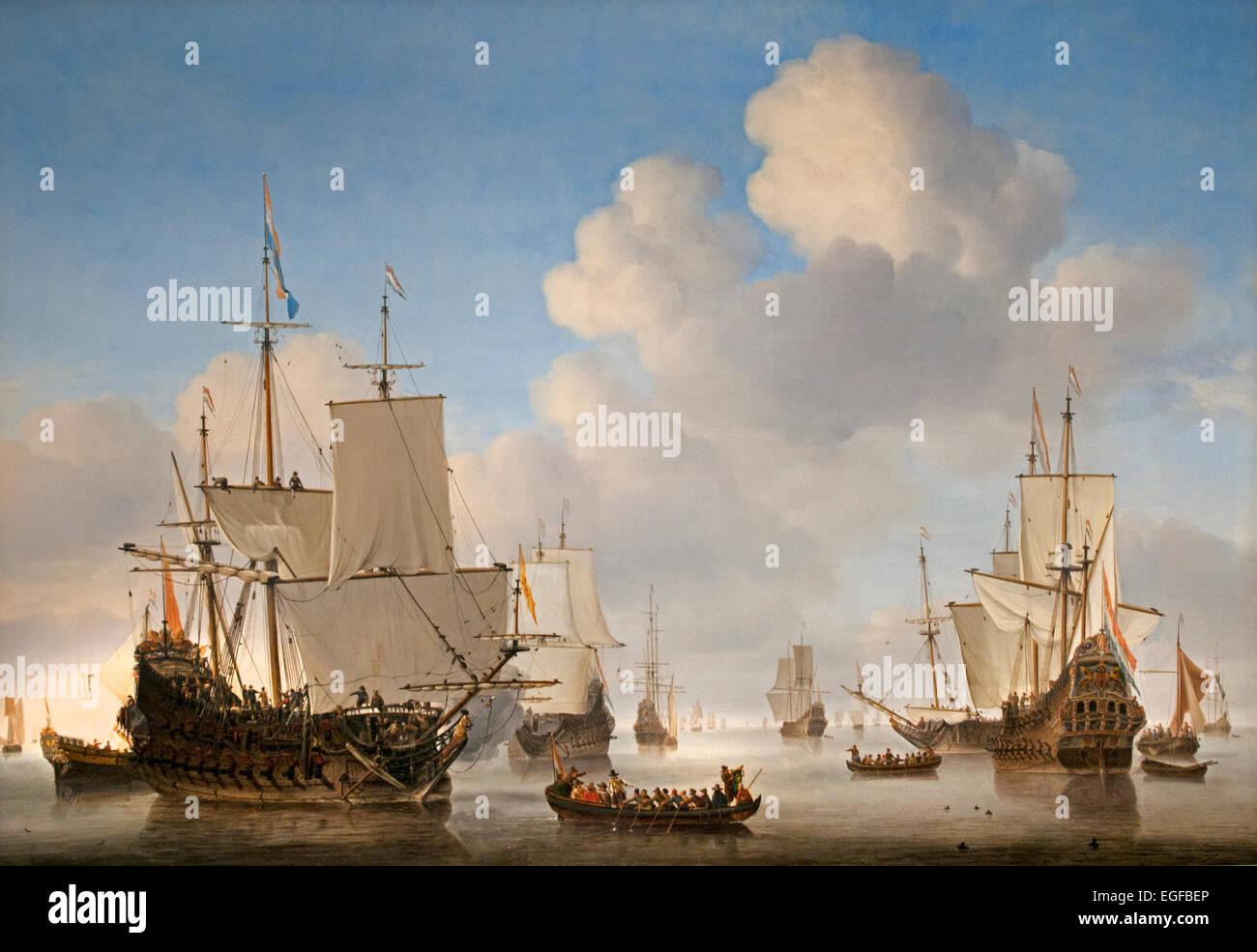 Dutch Ships on a calm Sea 1665 Willem van de Velde 1  1611-1693 Dutch Netherlands - Stock Image