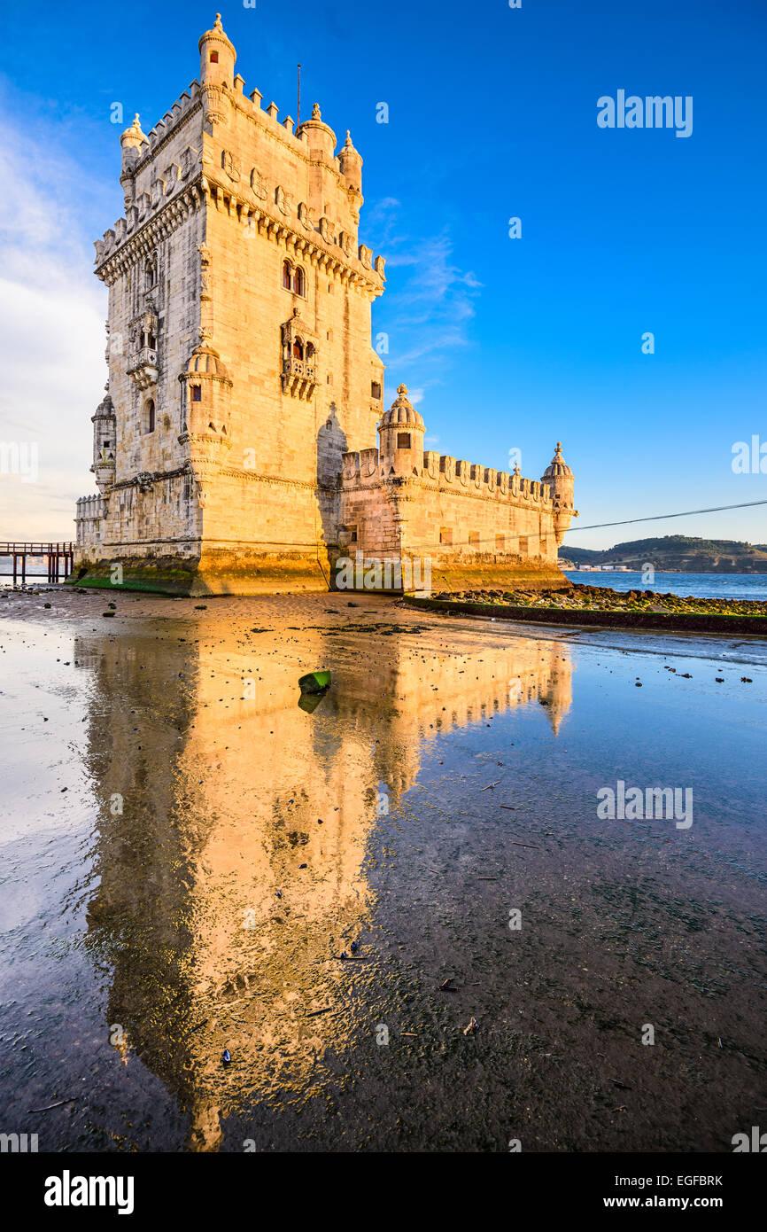 Belem Tower in Belem, Lisbon, Portugal. - Stock Image