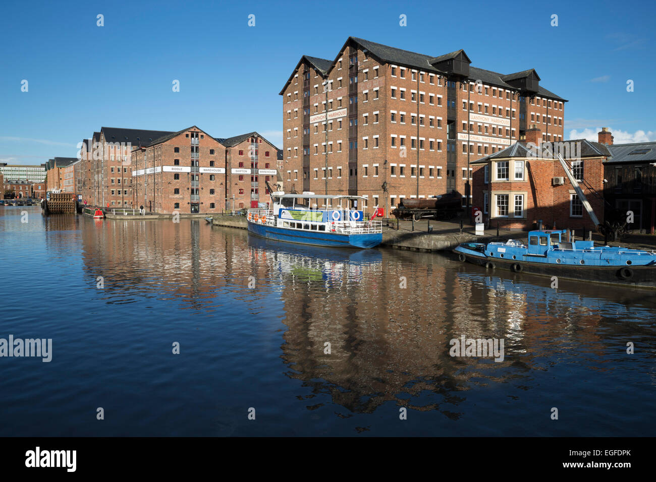 Former warehouses, Gloucester Quays, Gloucester, Gloucestershire, England, United Kingdom, Europe - Stock Image