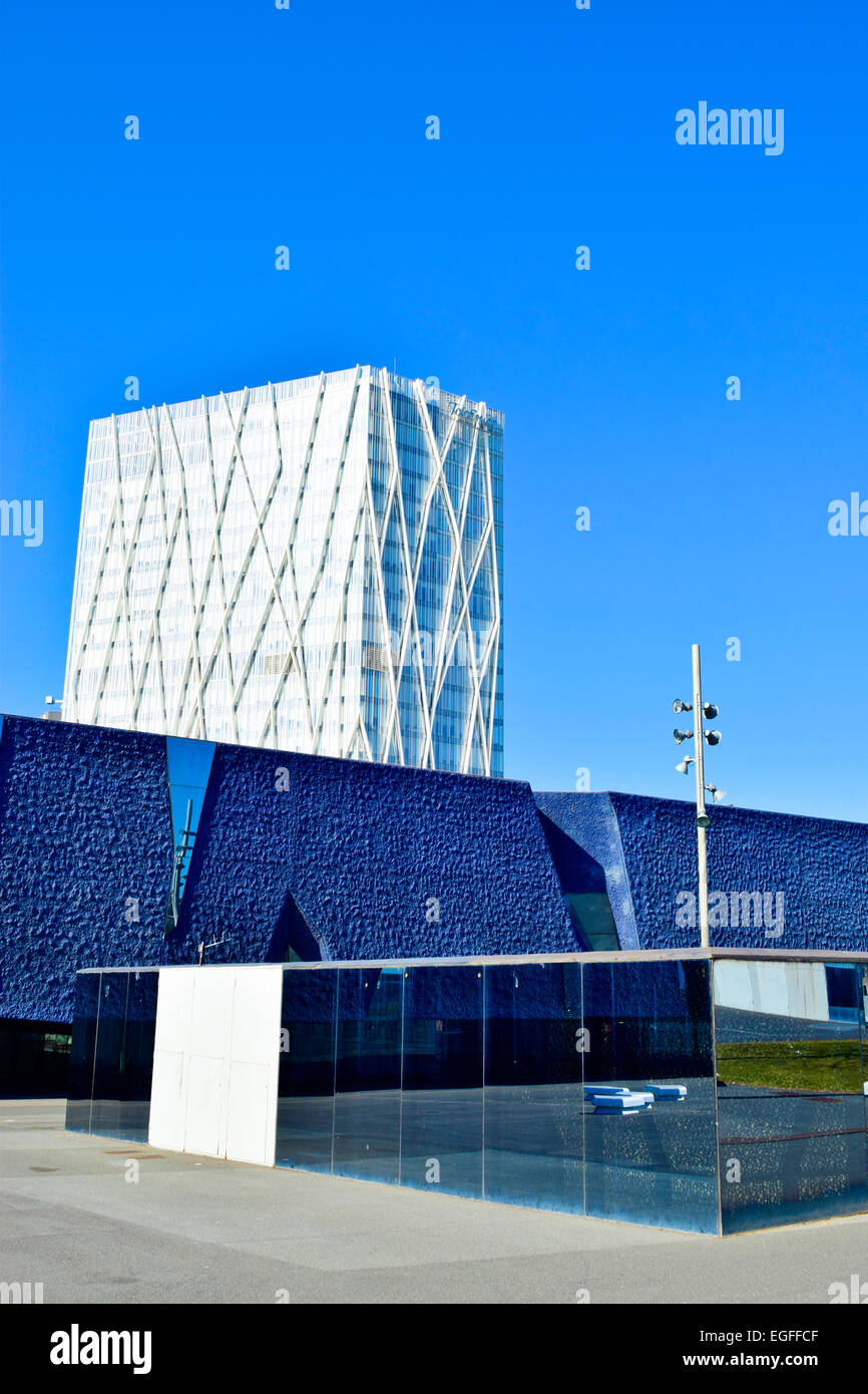 Museu Blau and Telefonica building. Barcelona, Catalonia, Spain. - Stock Image