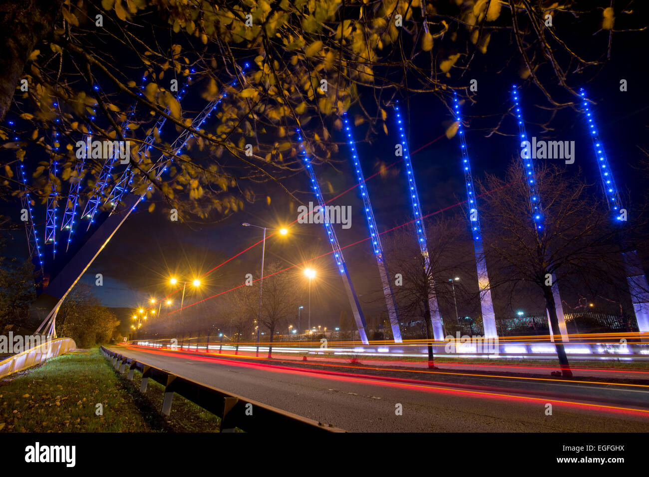 The Mersey Wave lighting display at the entrance to Liverpool's southern border at Speke. Stock Photo