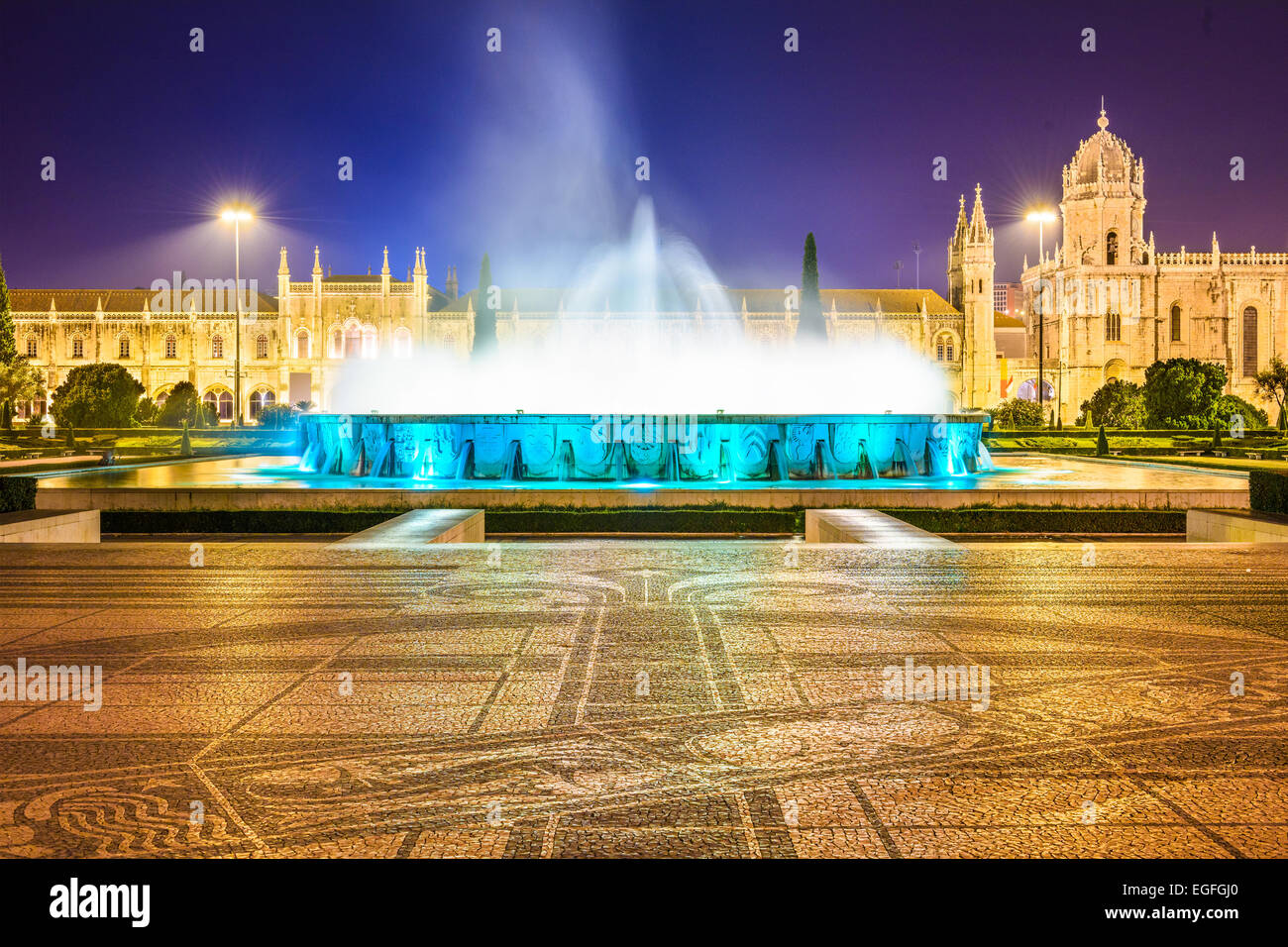 Belem, Lisbon, Portugal at the Jeronimos Monastery fountain at night. Stock Photo
