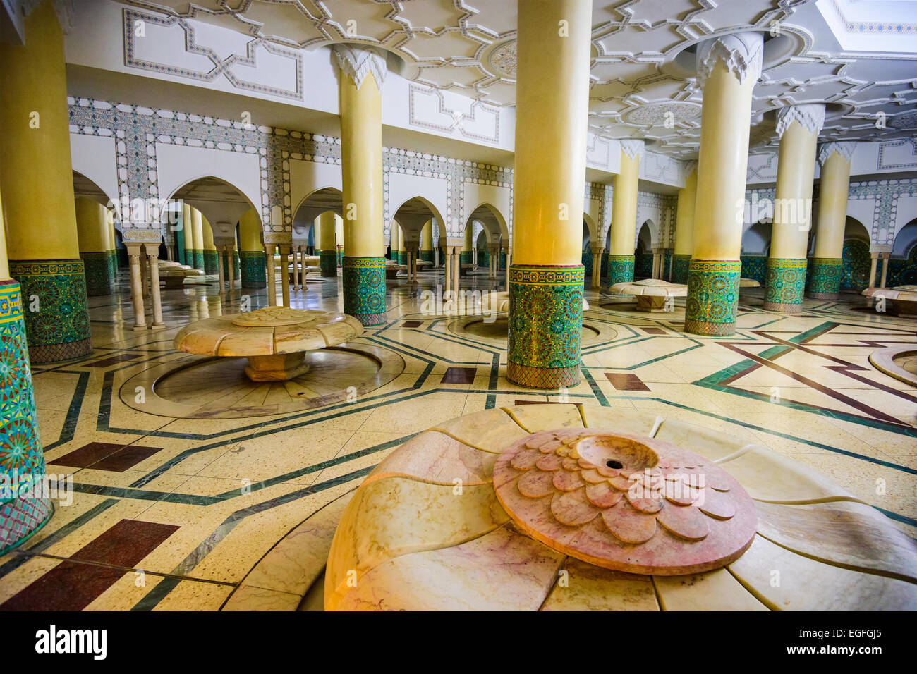The Wudu wash room of Hassan II Grand Mosque. The ritual of washing is performed before formal prayer. - Stock Image