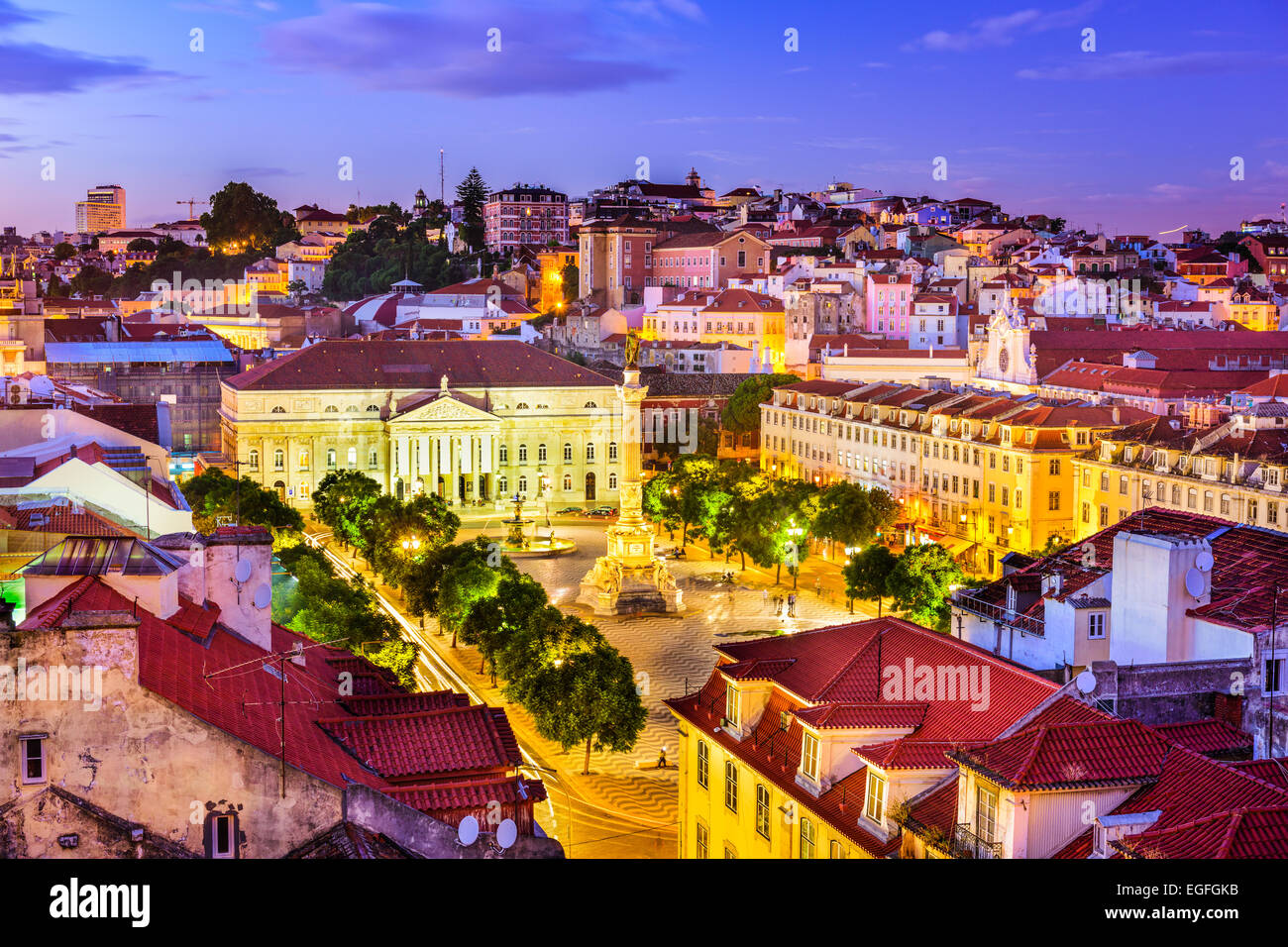 Lisbon, Portugal Pombaline district skyline over Rossio Square. - Stock Image