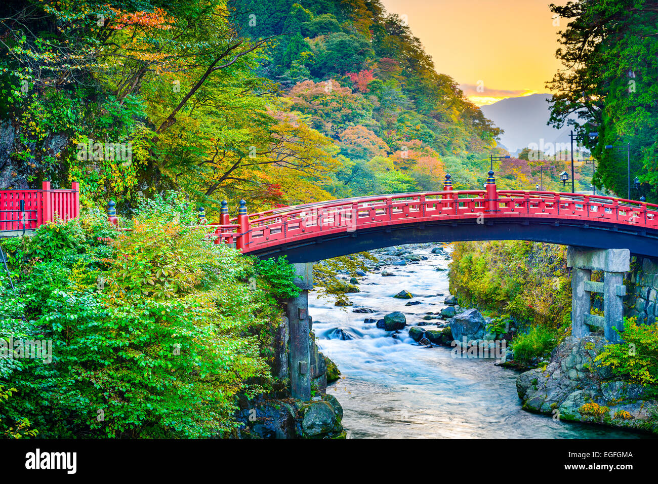 Nikko, Japan at Shinkyo Bridge. - Stock Image