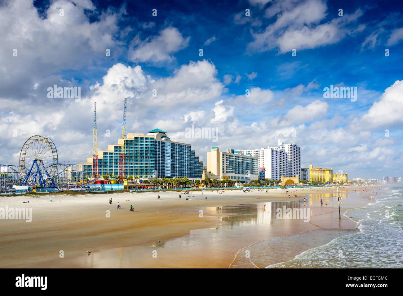 Daytona Beach, Florida, USA beachfront skyline. - Stock Image