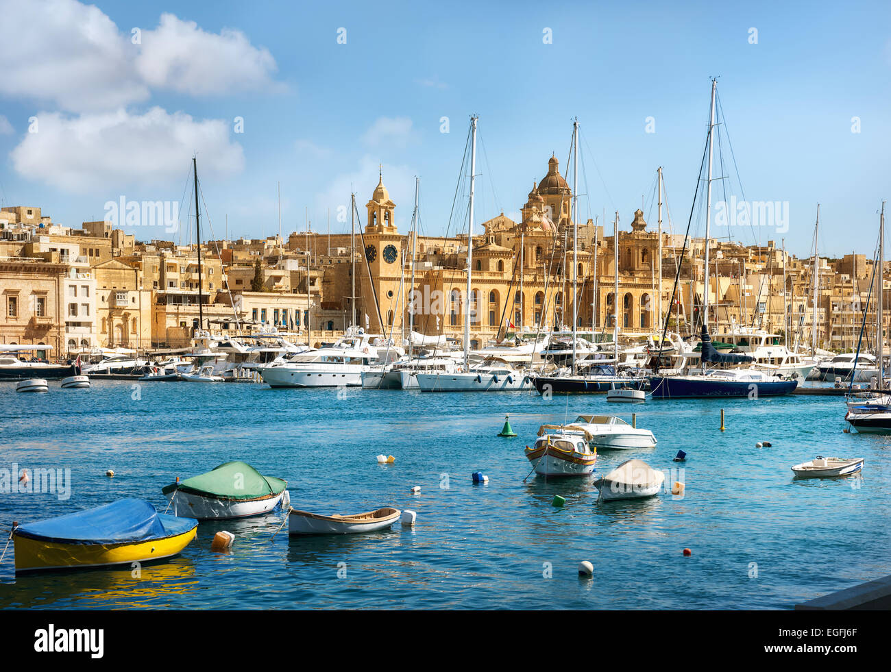 View of town and harbour. Valletta. Malta - Stock Image