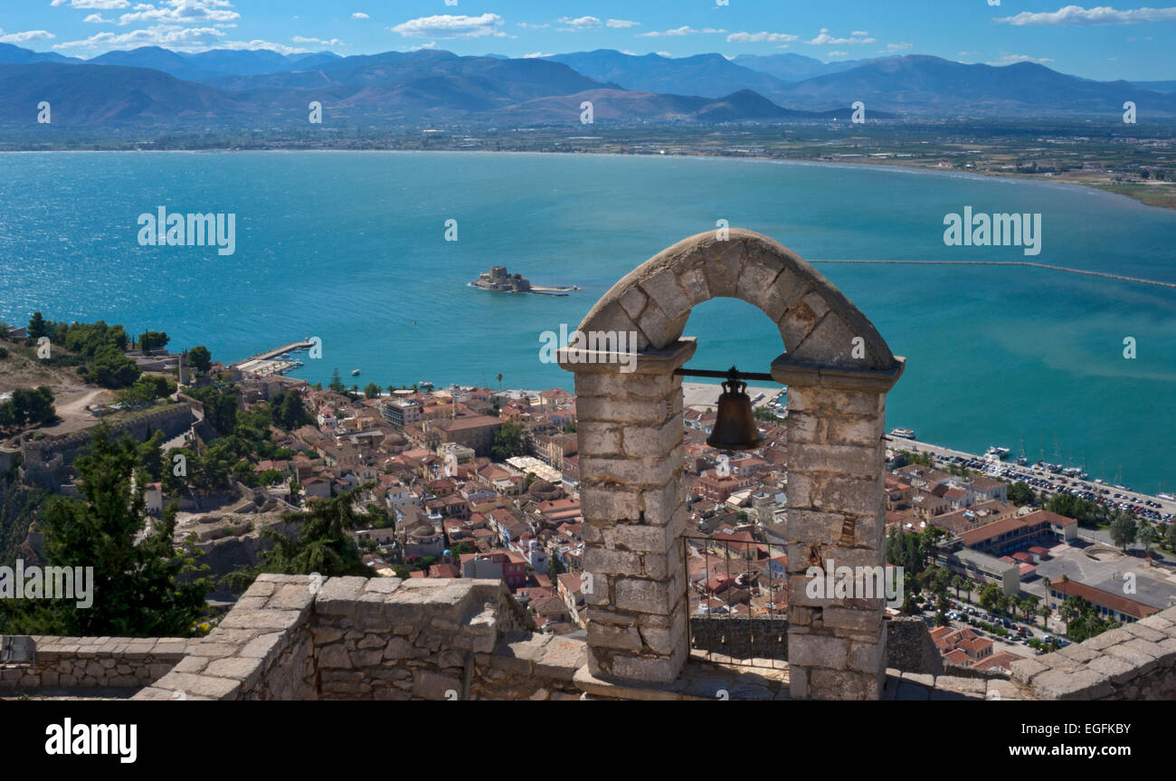View from Palamidi Castle to Nafplio and Argolikos Gulf, Argolida, Peloponnese, Greece - Stock Image