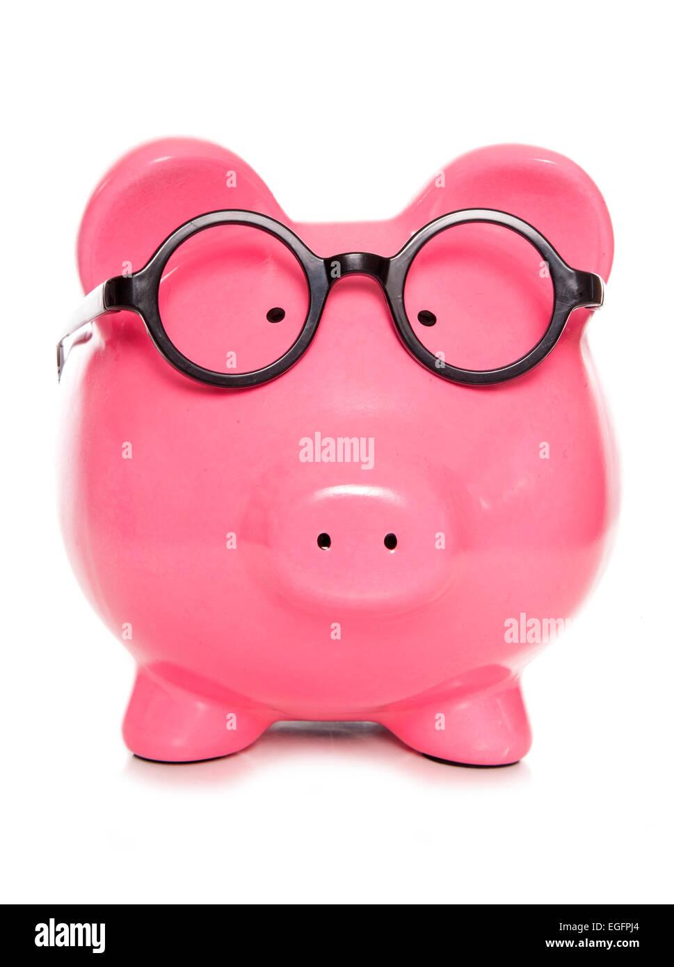 nerdy clever piggy bank cutout - Stock Image