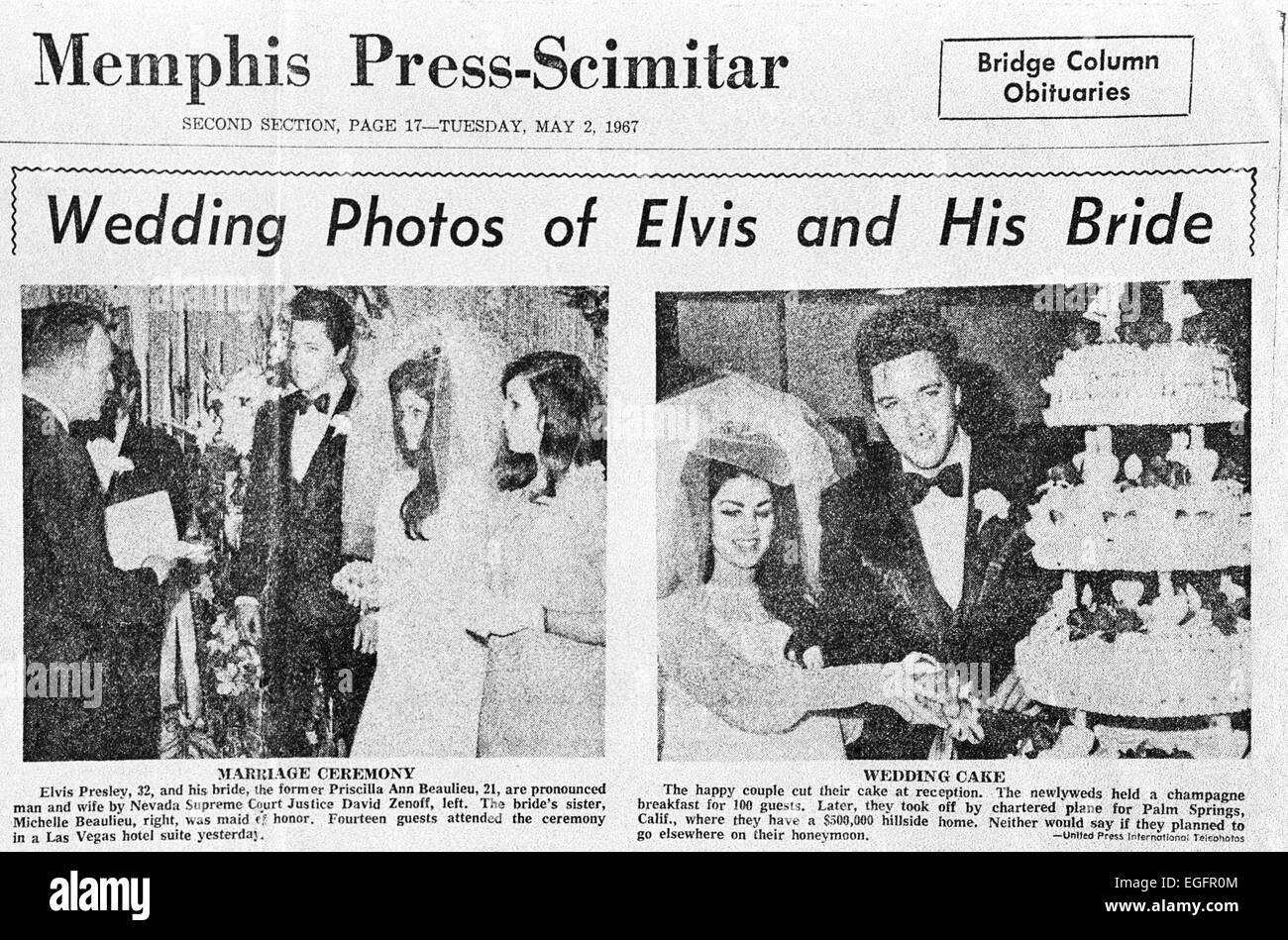 LAS VEGAS, NV - NOVEMBER 10 – Elvis and Priscilla Presley Wedding at the Aladdin Hotel, Las Vegas, Nevada, on November Stock Photo