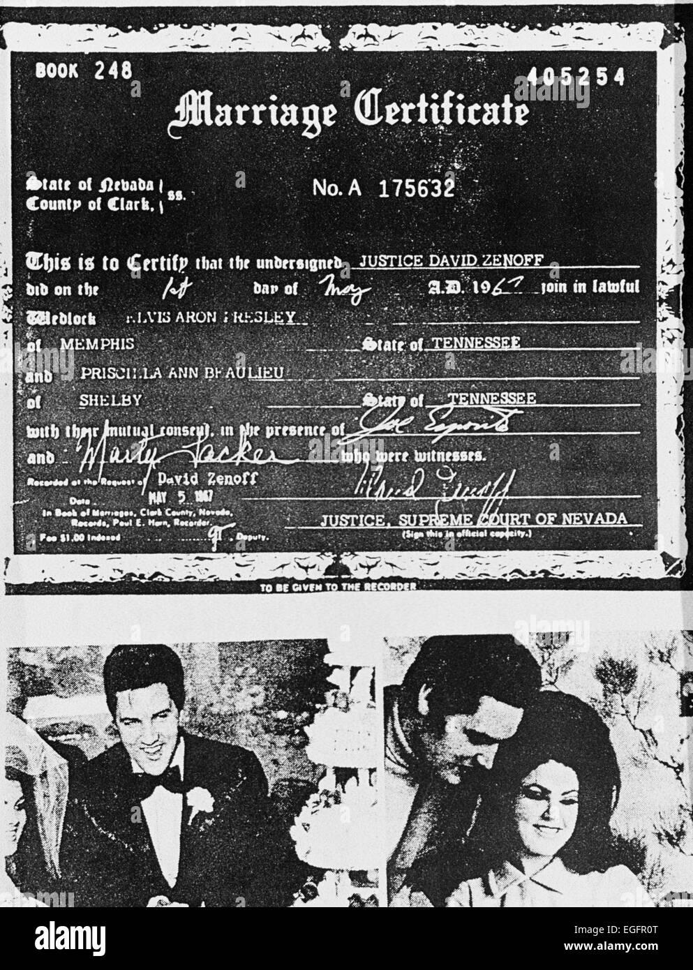 Las Vegas Nv November 10 Elvis And Priscilla Presley Marriage
