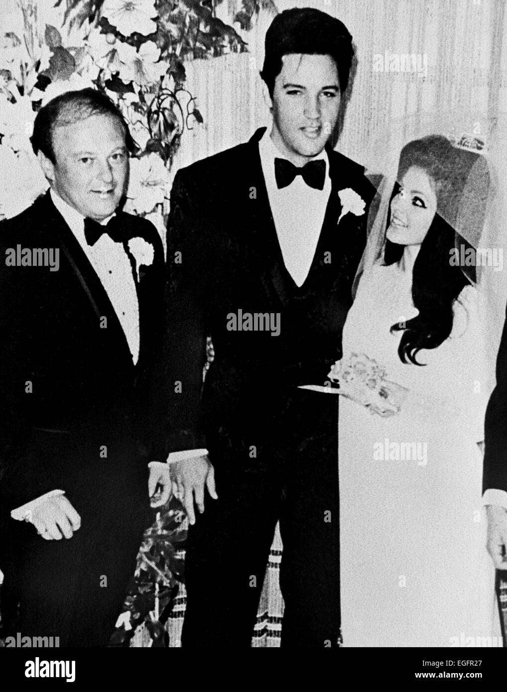 LAS VEGAS, NV - NOVEMBER 10 – Elvis and Priscilla Presley Wedding at the Aladdin Hotel, Las Vegas, Nevada, on November Stock Photo