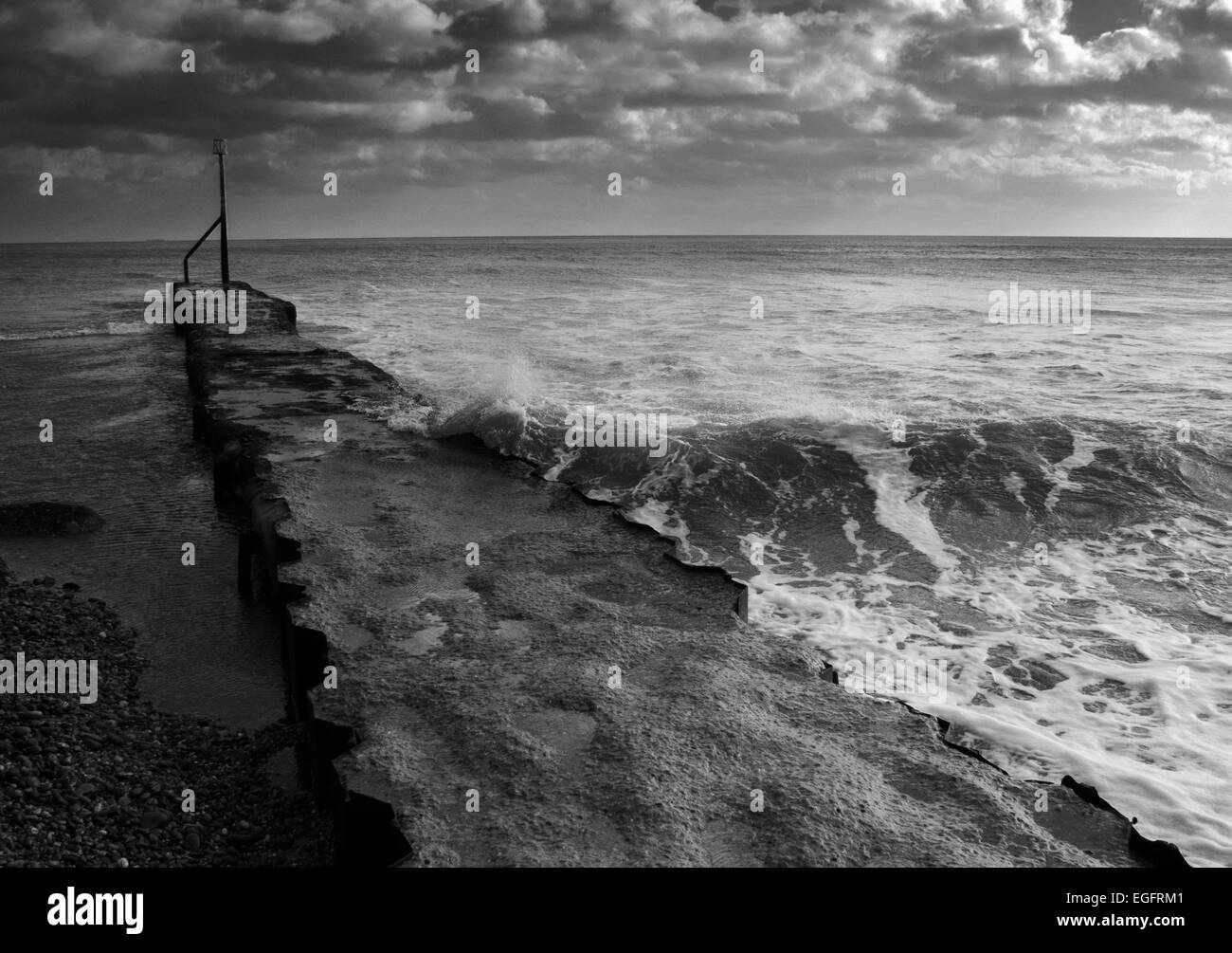 Sea defence at Sidmouth, Devon, England - Stock Image