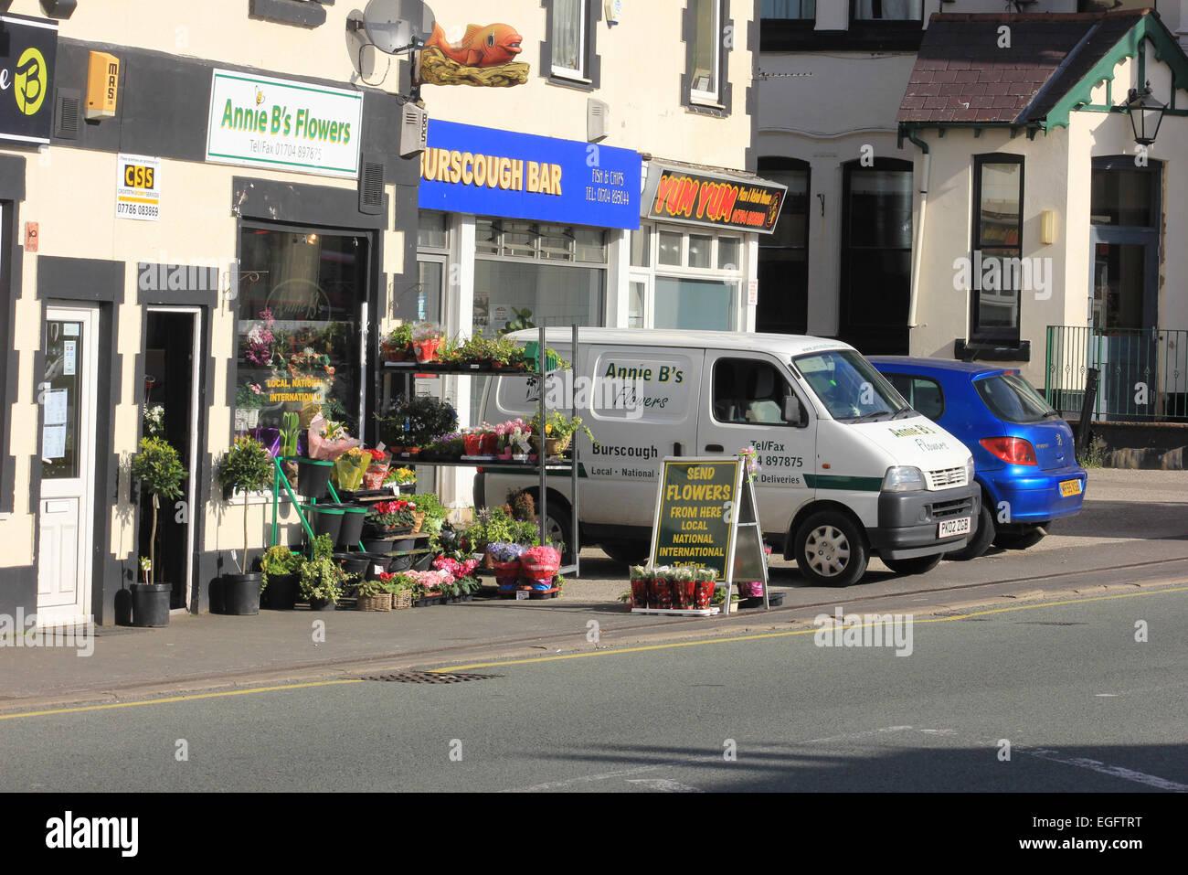 Annie B's flowers, florist,  Burscough West Lancashire. On Liverpool road north in Burscough is The Palais Buildings. - Stock Image