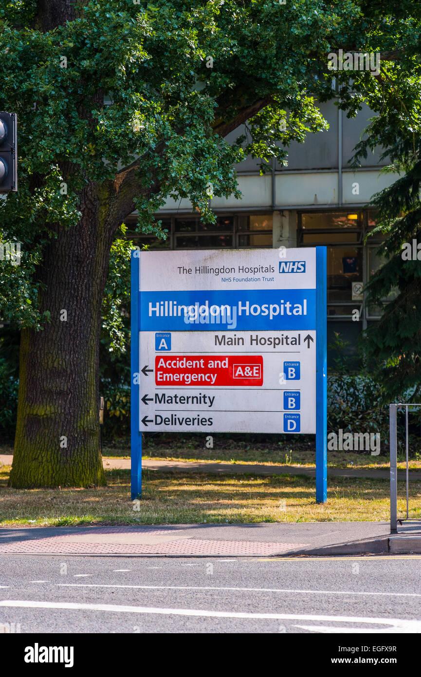 Hillingdon Hospital signage - Stock Image