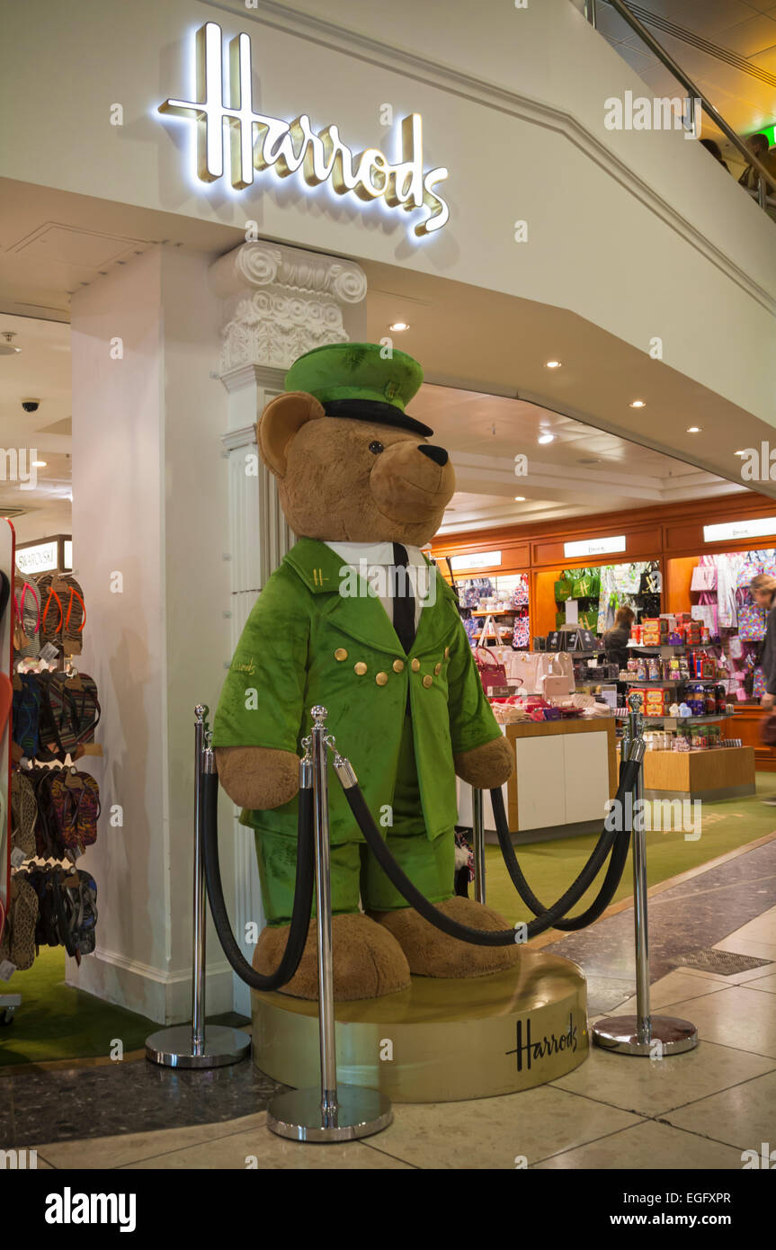 Harrods bear at entrance to Harrods store in London Gatwick Airport North Terminal, West Sussex - Stock Image