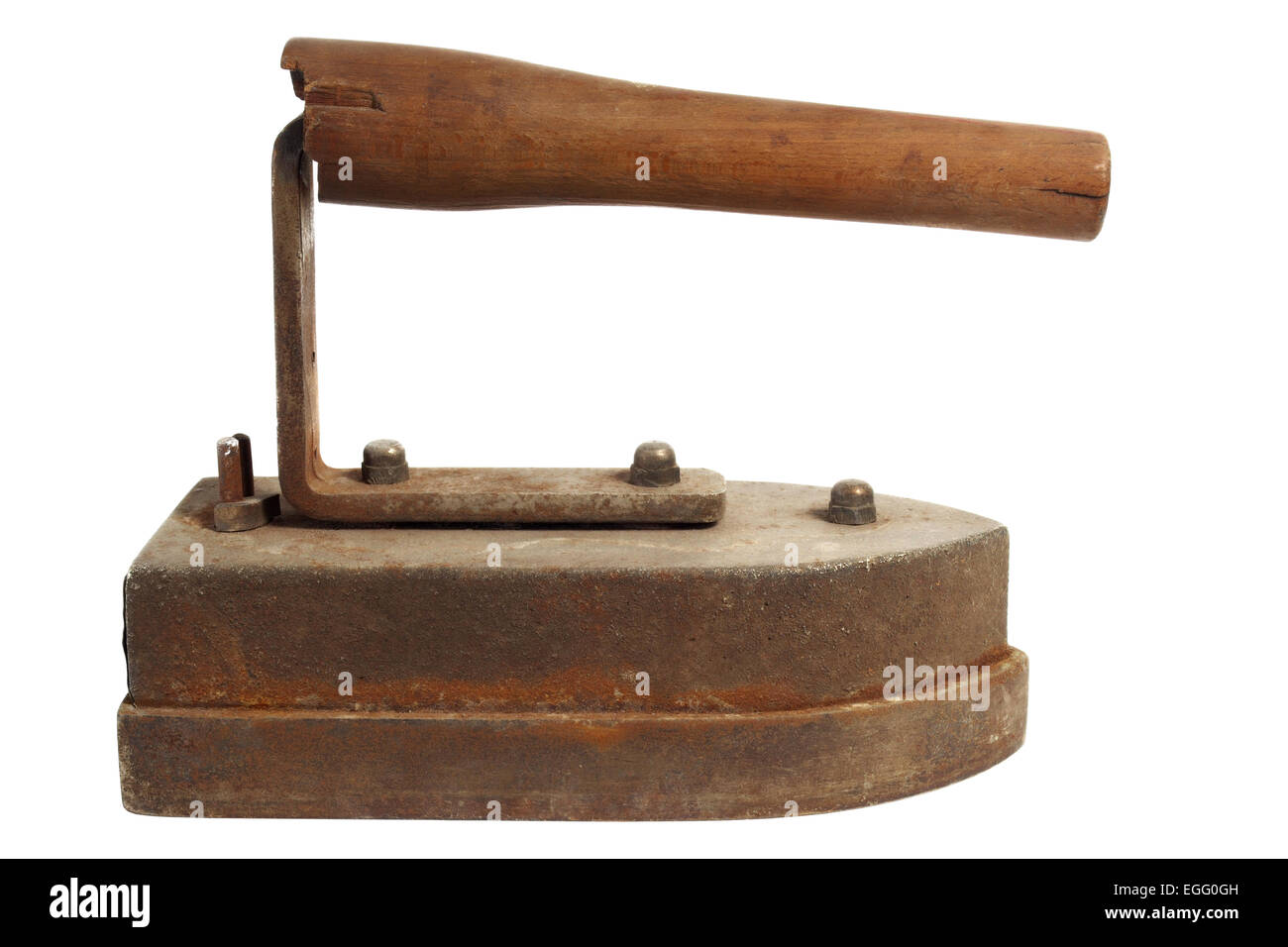 Antique rusty electric iron isolated on white background - Stock Image