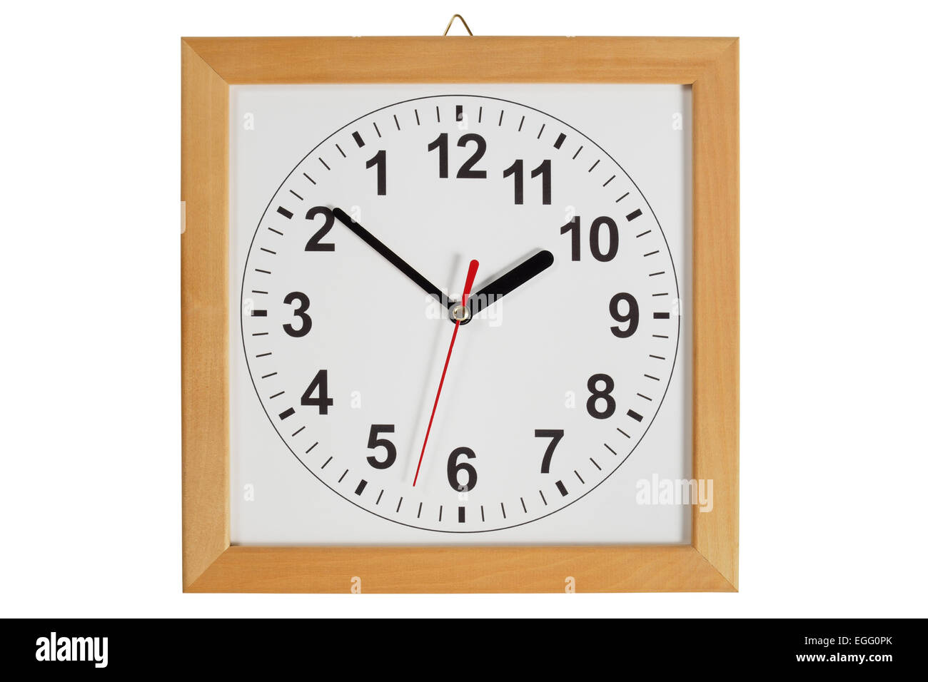 Reverse clock with wooden frame isolated on white background - Stock Image