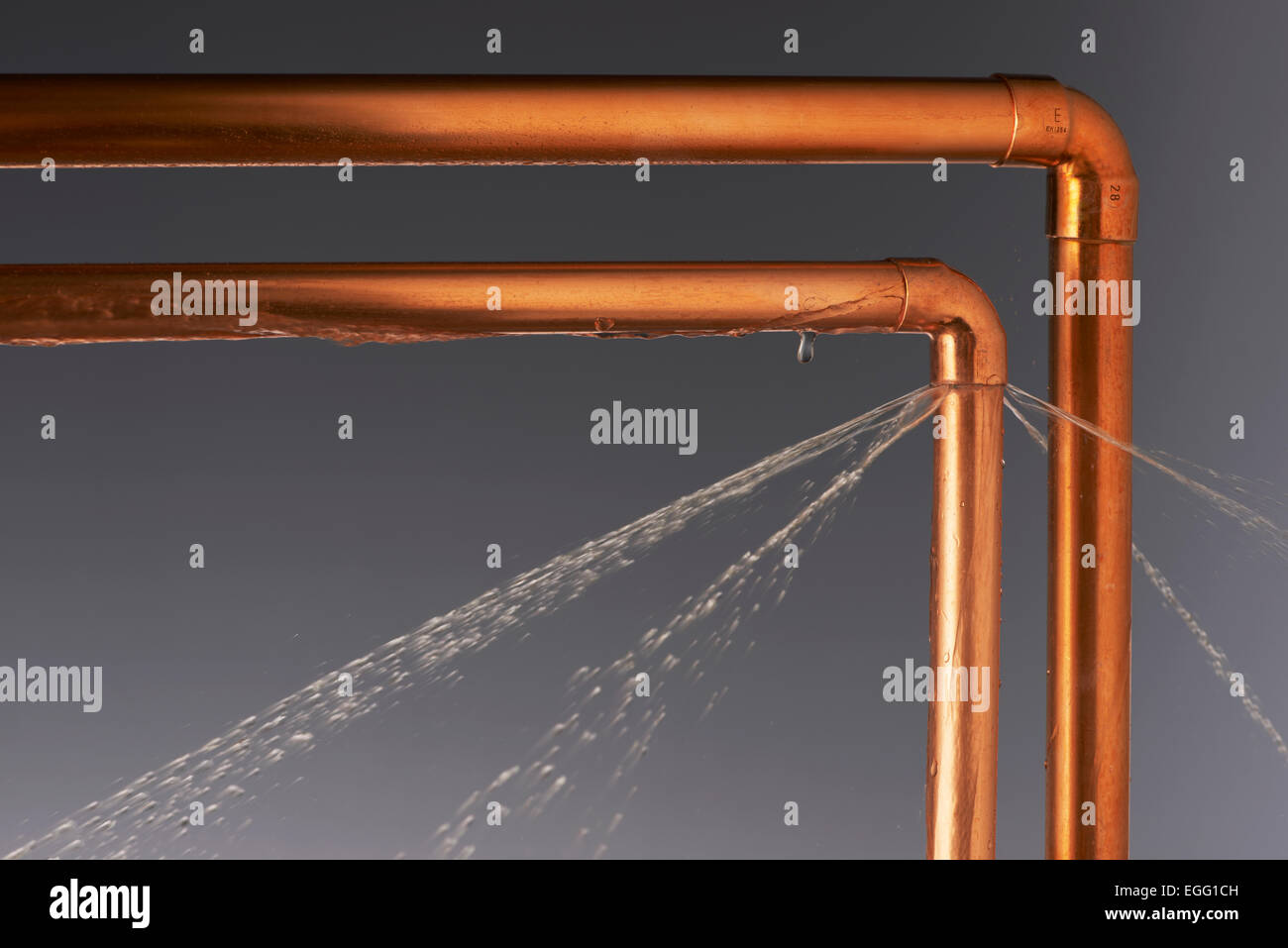 Leaking Burst Pipes - Stock Image