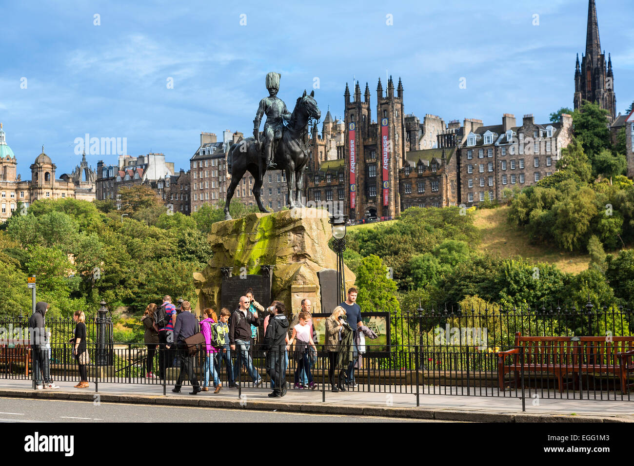 the Royal Scots Greys monument on Princes Street - Stock Image