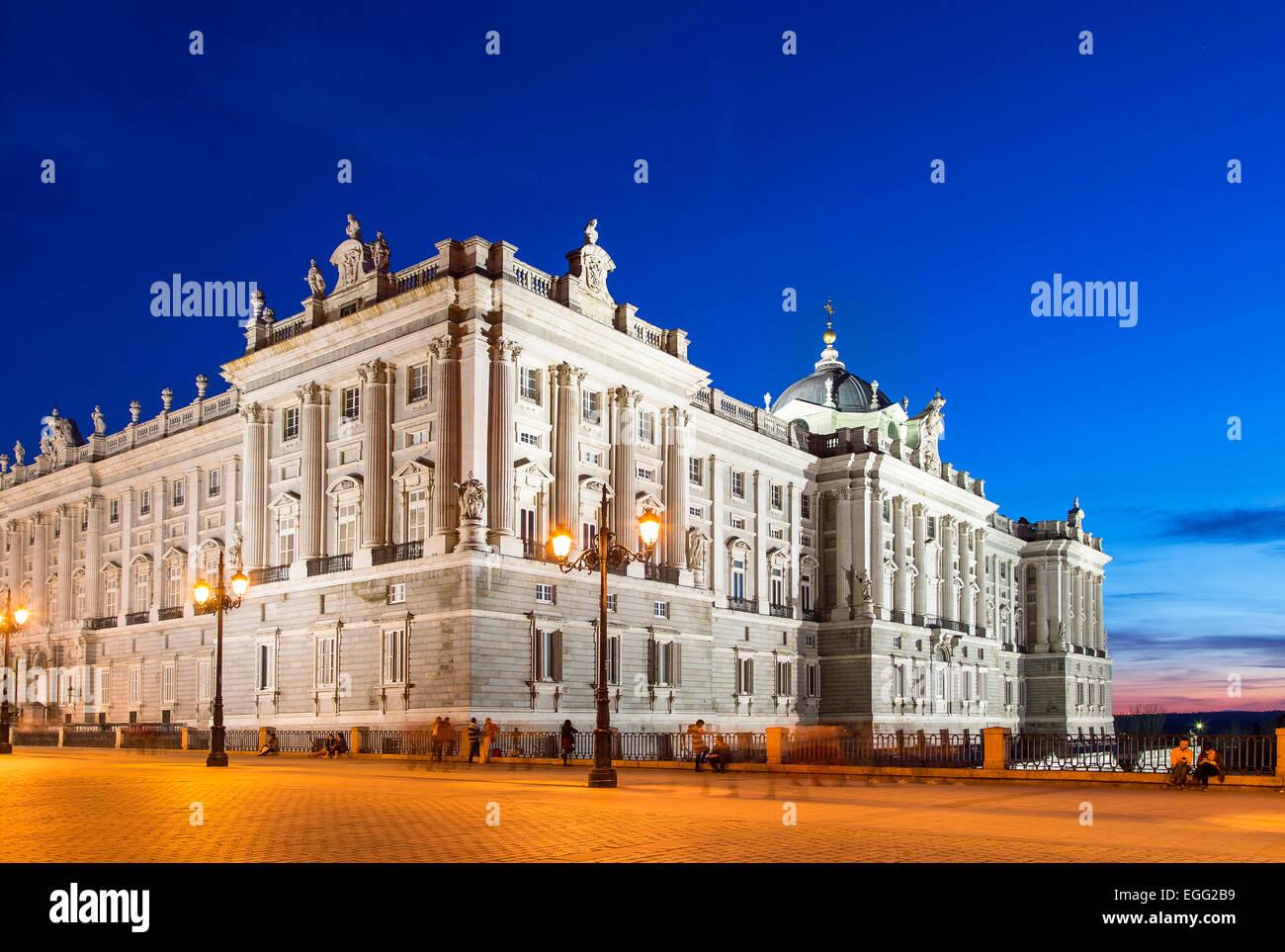 Madrid, Royal Palace (Palacio real) at Dusk - Stock Image