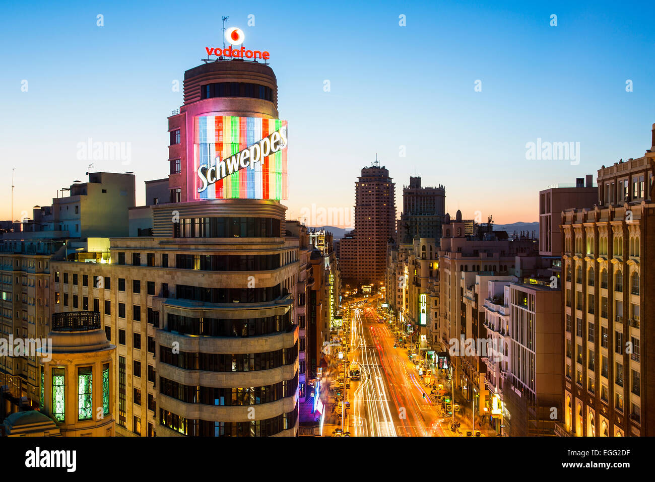 Skyline of Madrid at Dusk Stock Photo