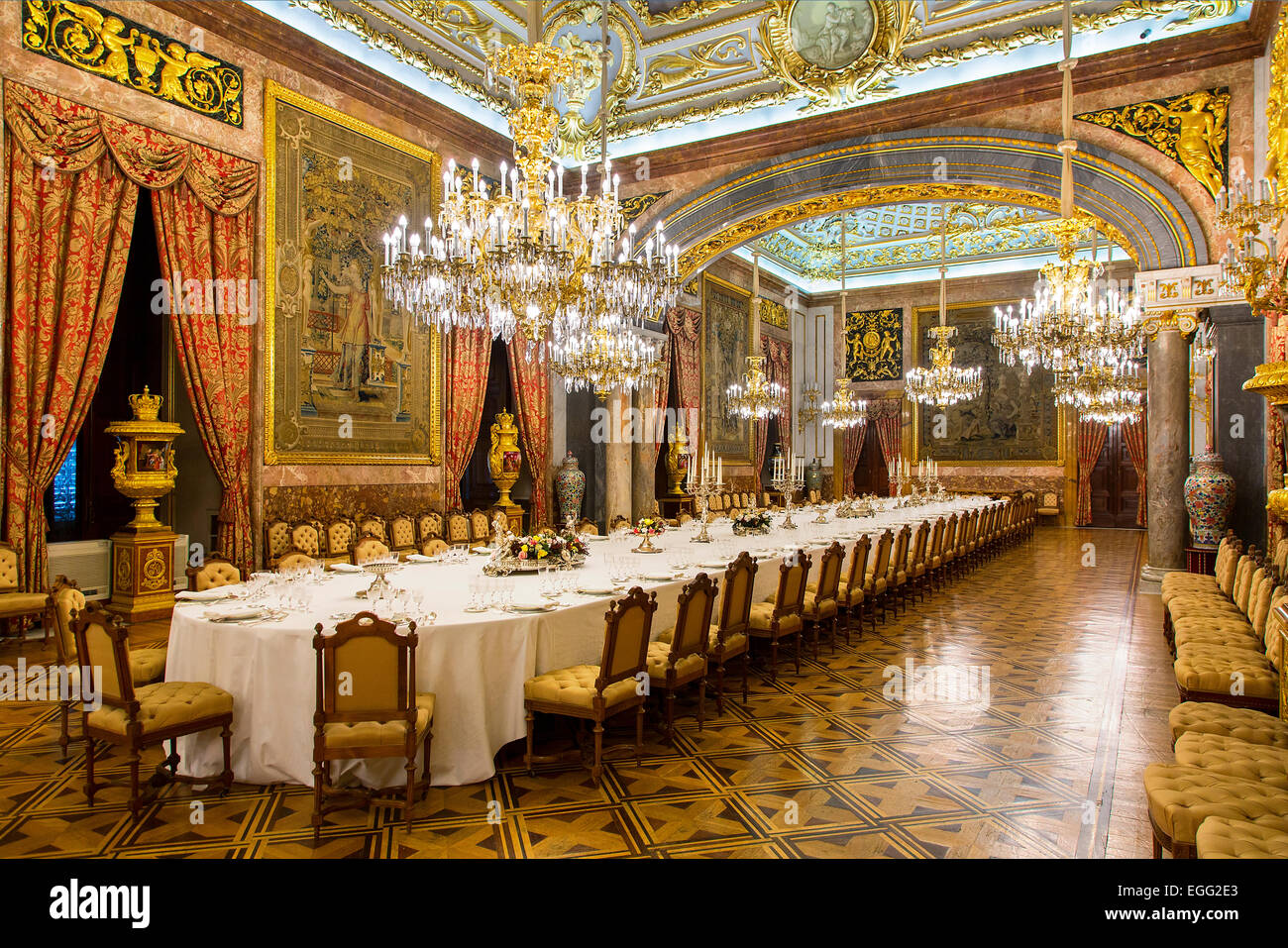 Madrid, Dining Room in Royal Palace - Stock Image