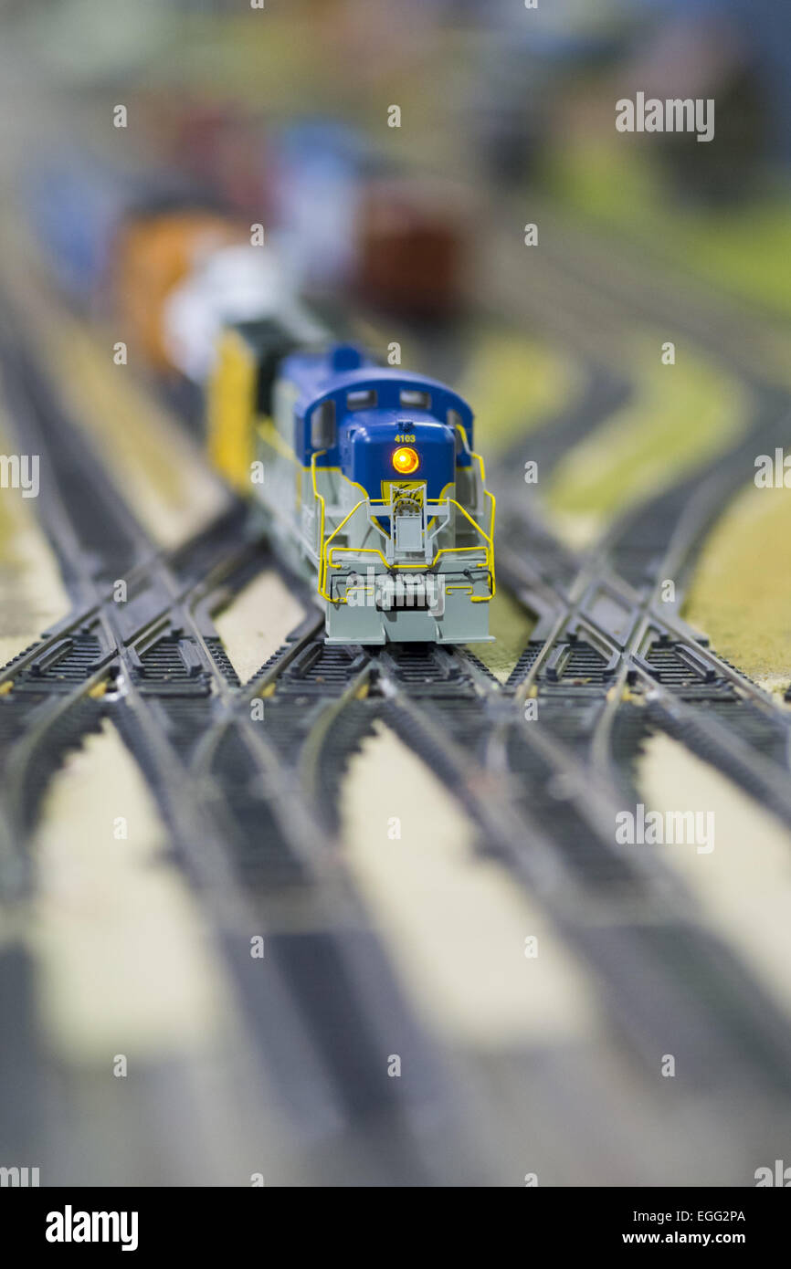 Hicksville, New York, USA. 22nd Feb, 2015. A Model Train Exhibit is hosted by Trainville Hobby Depot at the Broadway - Stock Image