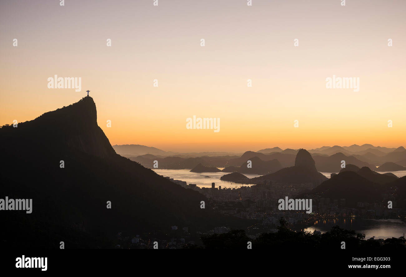 View from Chinese Vista at dawn, Rio de Janeiro, Brazil Stock Photo