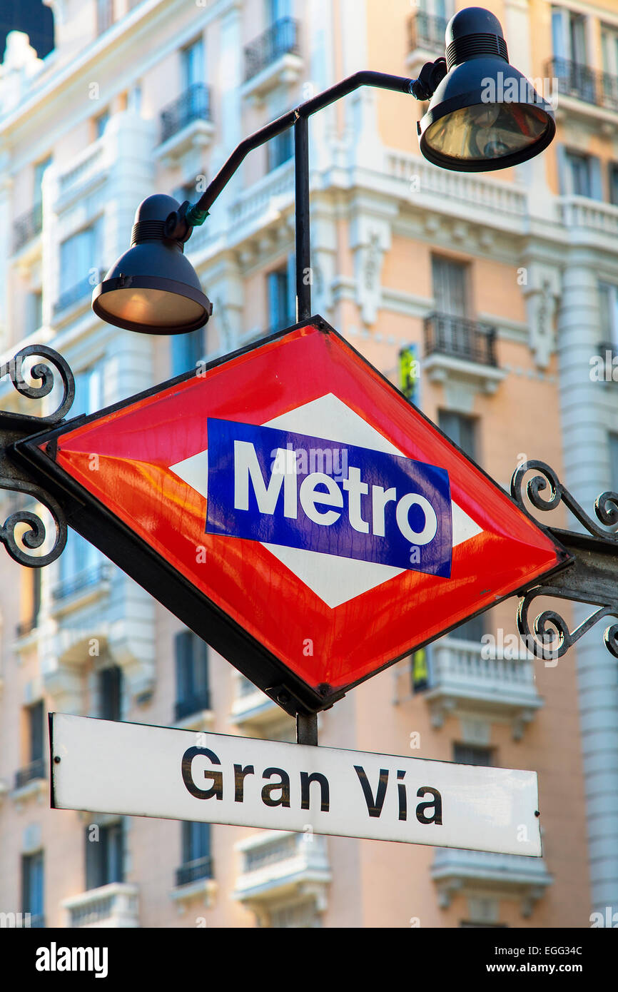 Gran Via Metro sign, Madrid, Spain - Stock Image