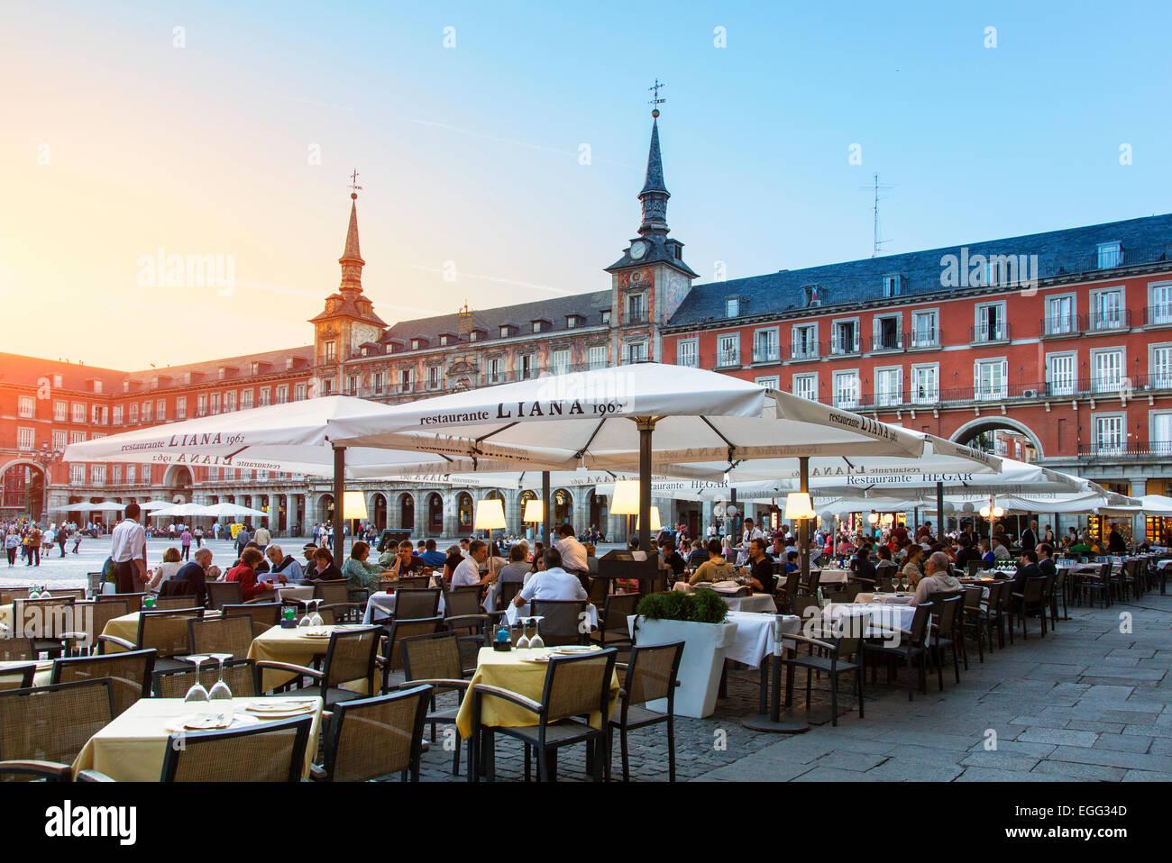 Madrid, Terrace on plaza Mayor - Stock Image