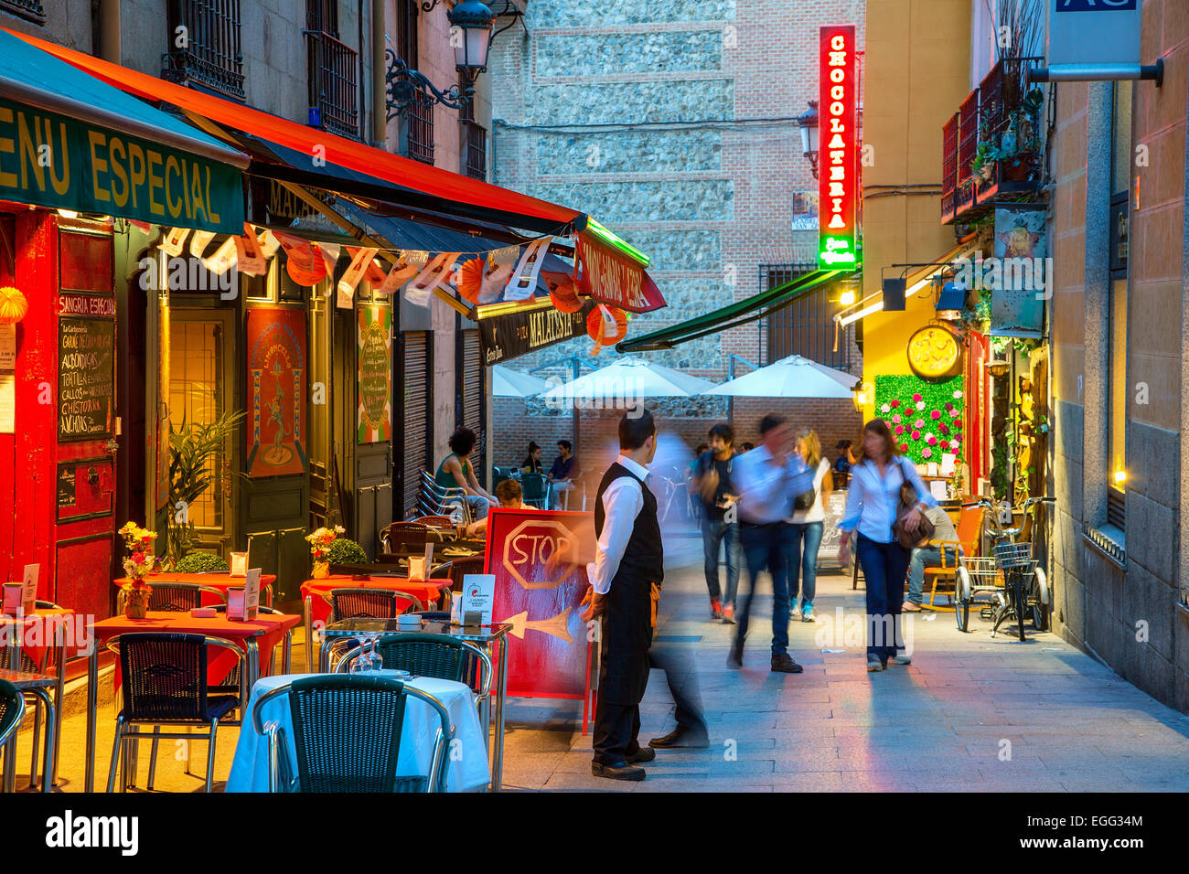 Madrid, street cafe near Plaza Mayor - Stock Image