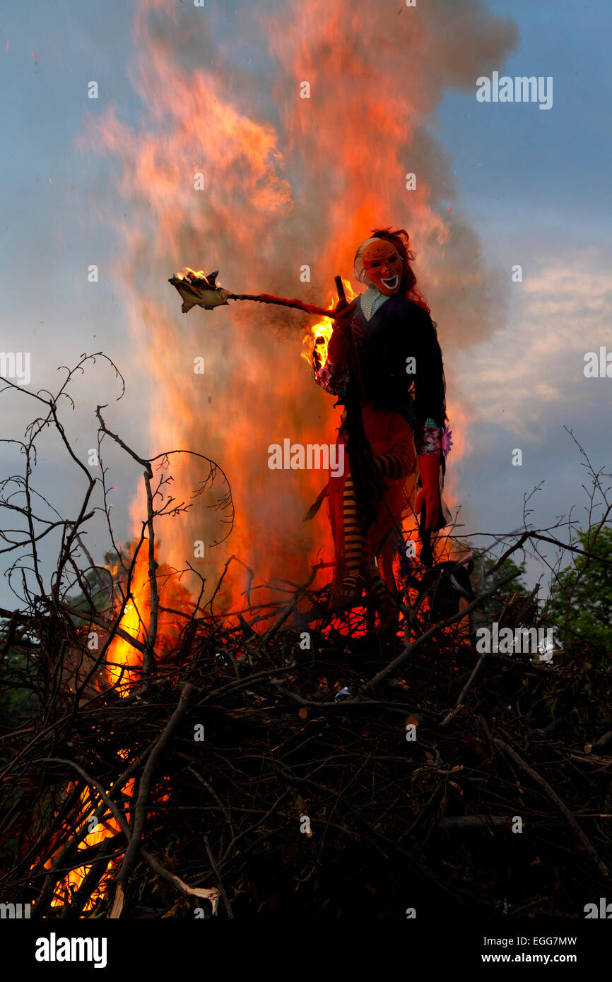 Midsummer and St. John's Eve (sankthansaften) are celebrated by lighting bonfires at sunset. Most often with - Stock Image