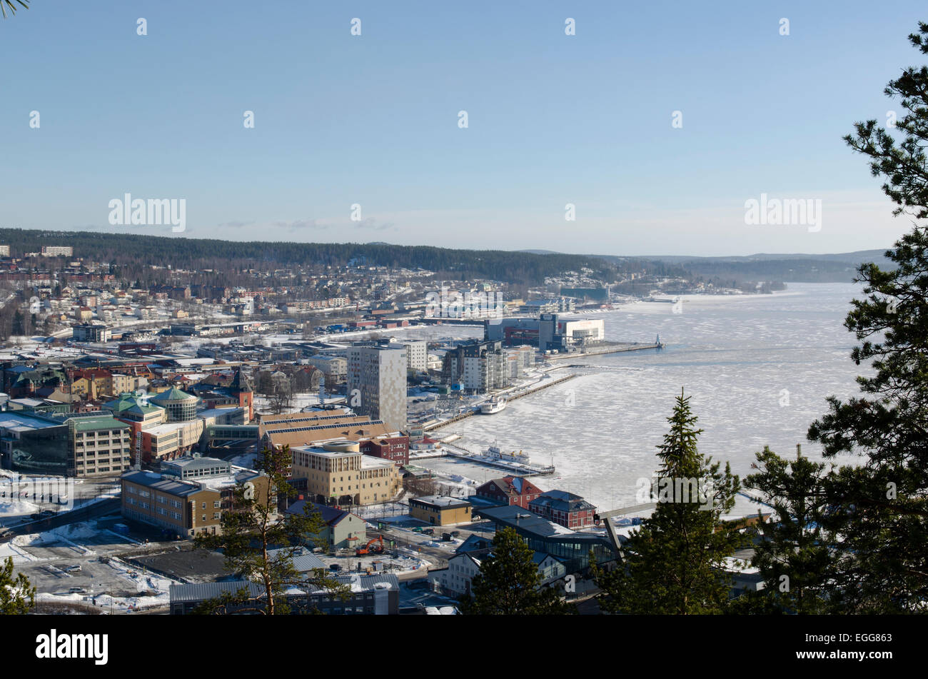 Overview of ornskoldsvik town from mountain on the south side of town 'varvsberget' - Stock Image