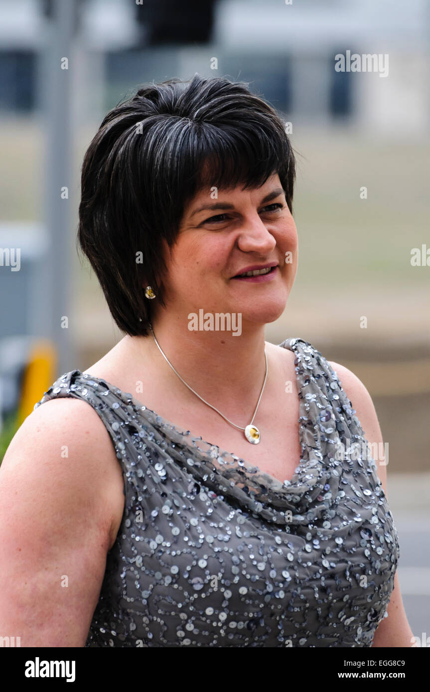 Belfast, UK. 30/03/2012 - Arlene Foster arrives at Belfast's  £97M Titanic Visitors Centre as it holds - Stock Image