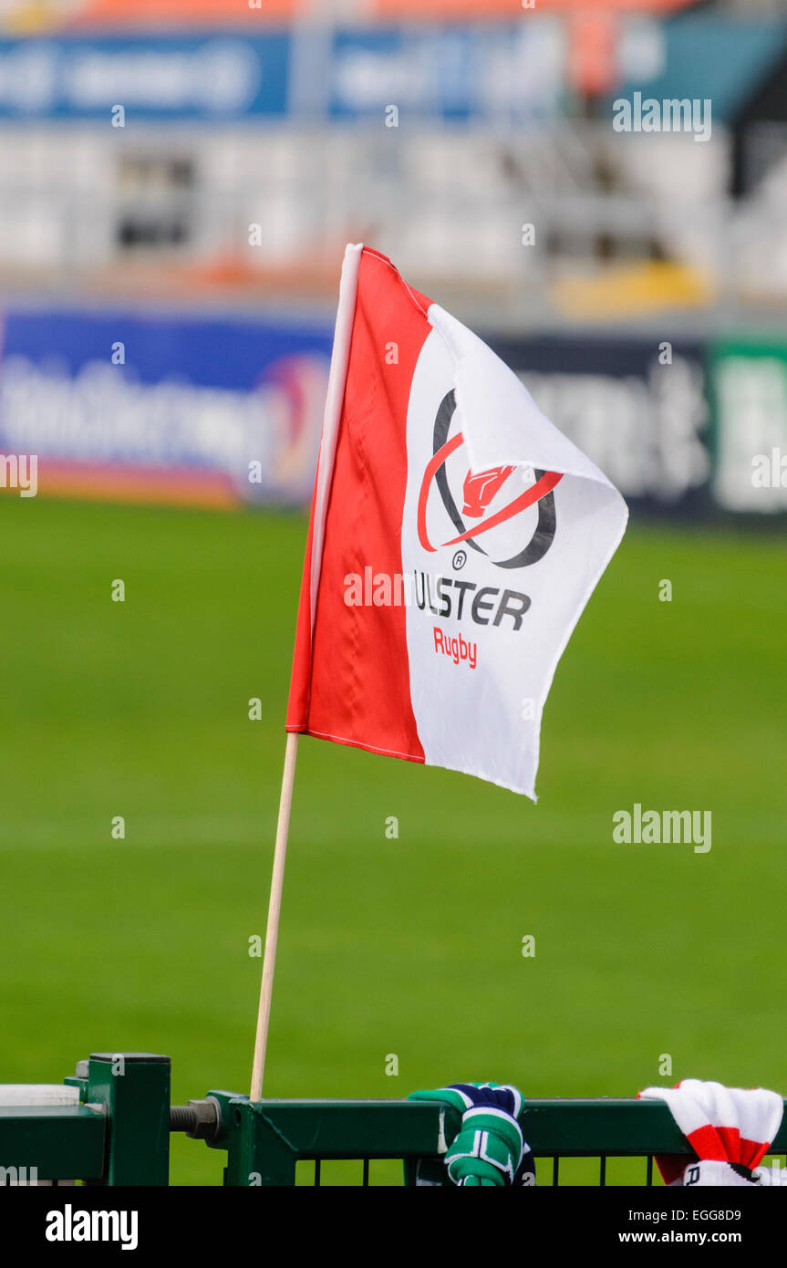 Ulster Rugby flag at Ravenhill Rugby Ground. - Stock Image