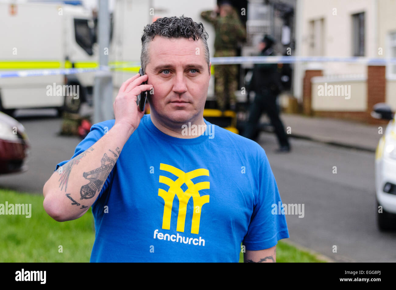 Newtownabbey councillor Phil Hamilton (PUP) targeted in pipe bomb attack, Rathcoole, NORTHERN IRELAND, UK 26/02/2012 - Stock Image