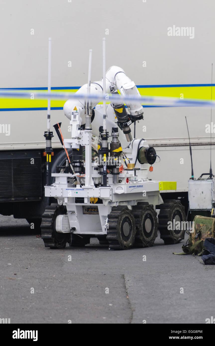 Northrof Grumman Andros Remotec Cutlass robot at the scene of a bomb alert in Northern Ireland. - Stock Image