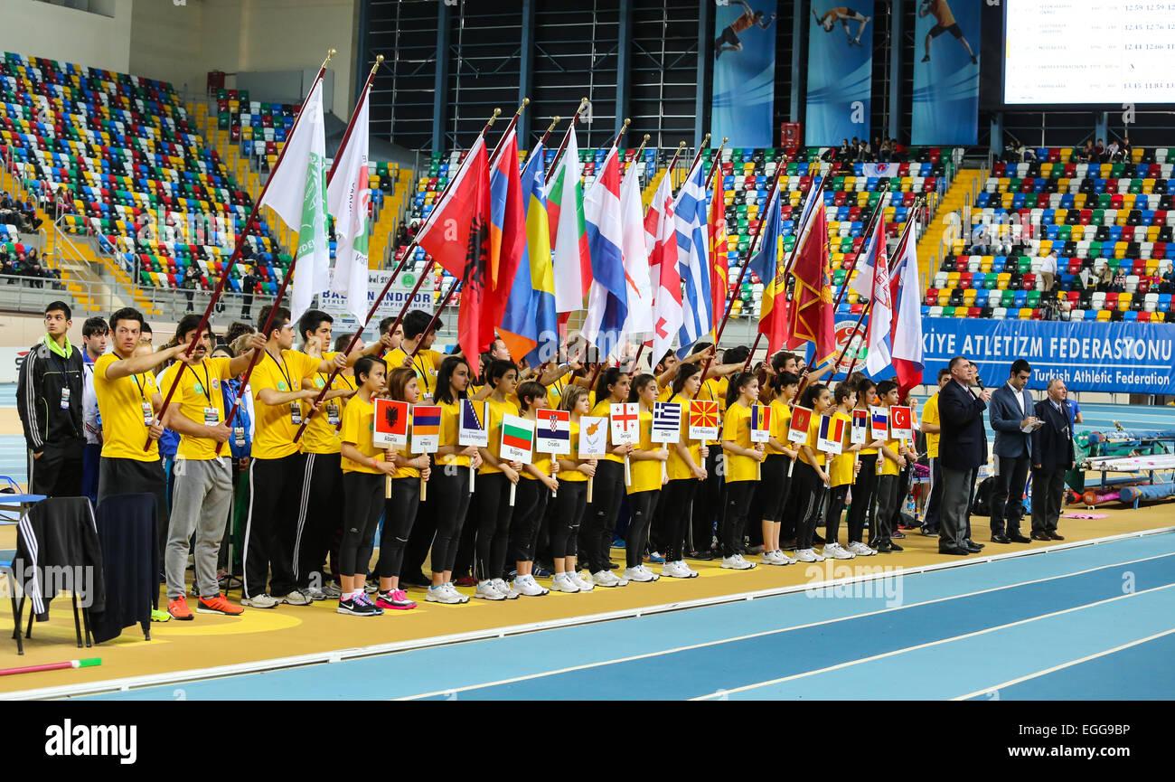 ISTANBUL, TURKEY - FEBRUARY 21, 2015: Opening ceremony of Balkan Athletics Indoor Championships in Asli Cakir Alptekin Stock Photo