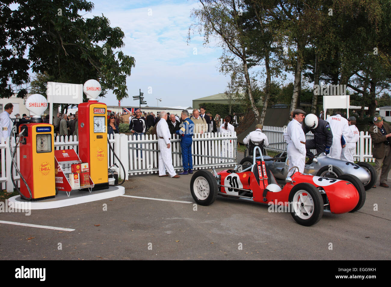 David Lecoq's red 1955 Petty-Norton in the assembly area / Goodwood Revival / Goodwood / UK - Stock Image