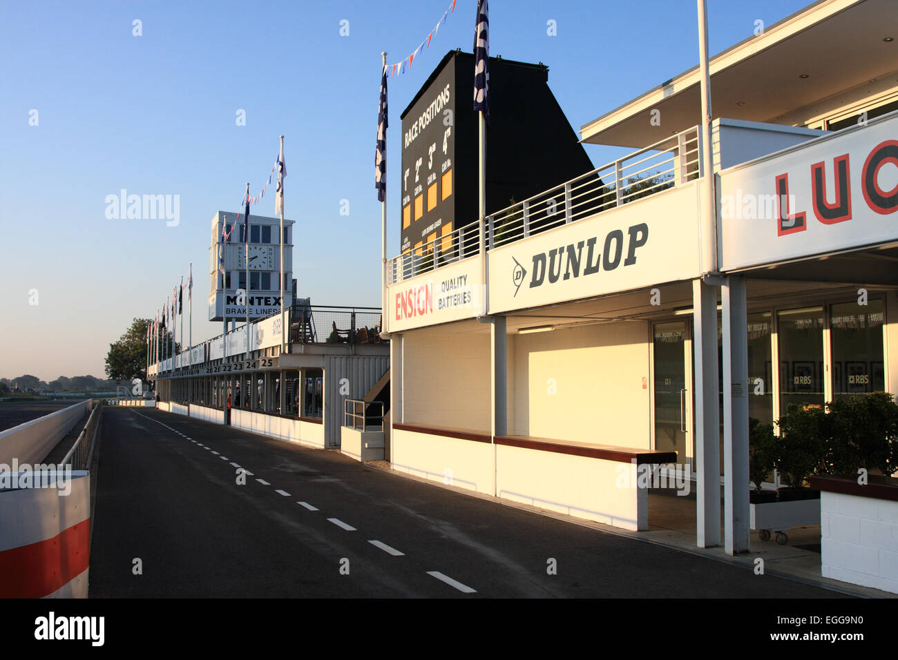 Crack of dawn on the big day and an empty pit lane / Goodwood Revival / Goodwood / UK - Stock Image