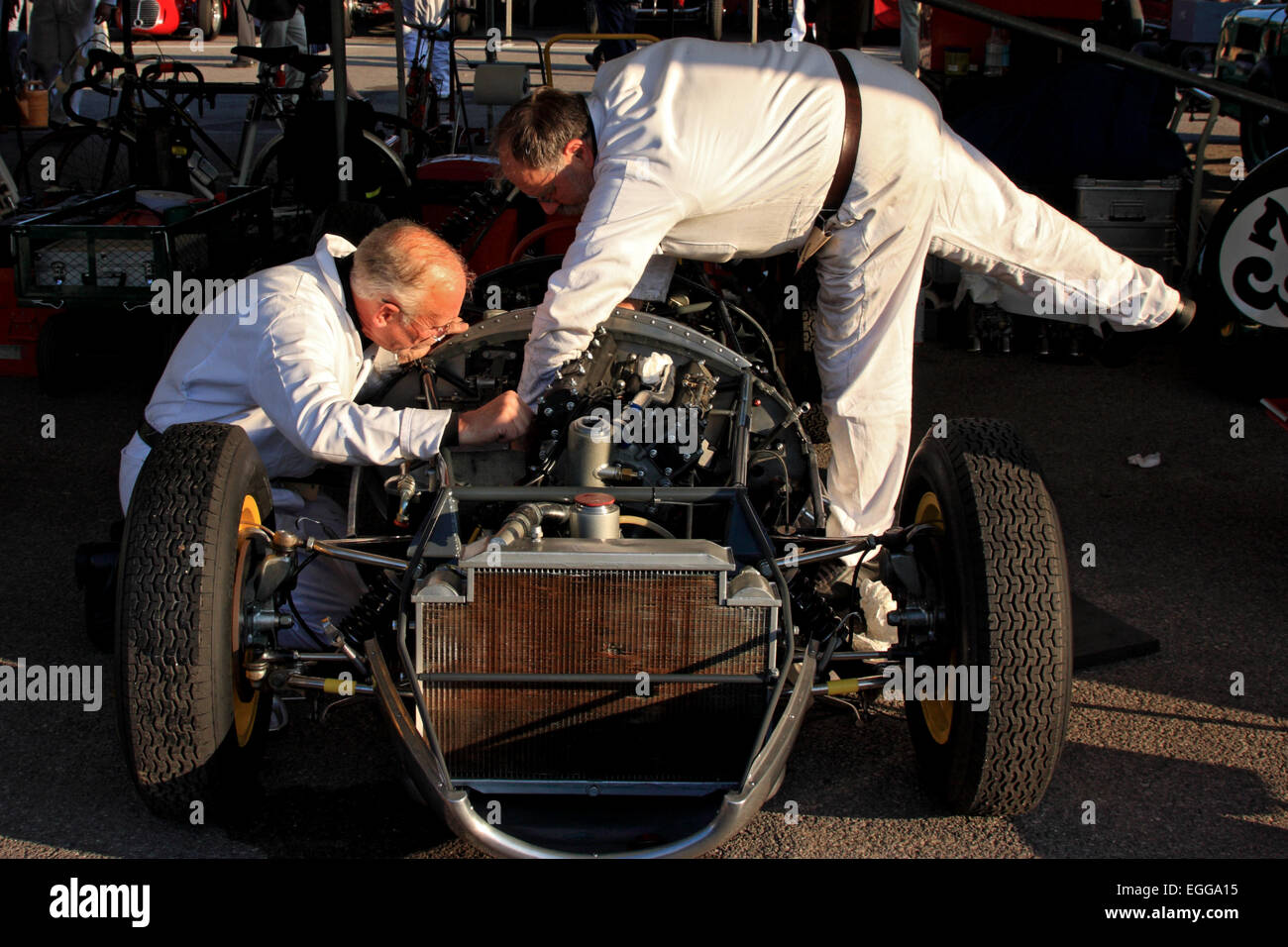 1959 Lotus-Climax 16 having last minute adjustments made in the paddock / Goodwood Revival / Goodwood / UK - Stock Image