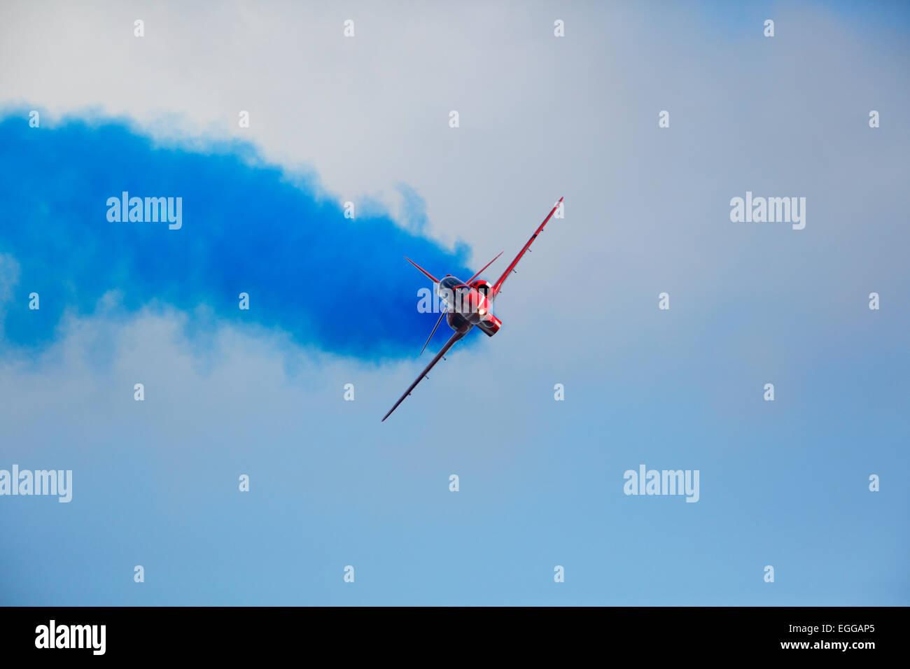 Red Arrows at Dawlish airshow - Stock Image