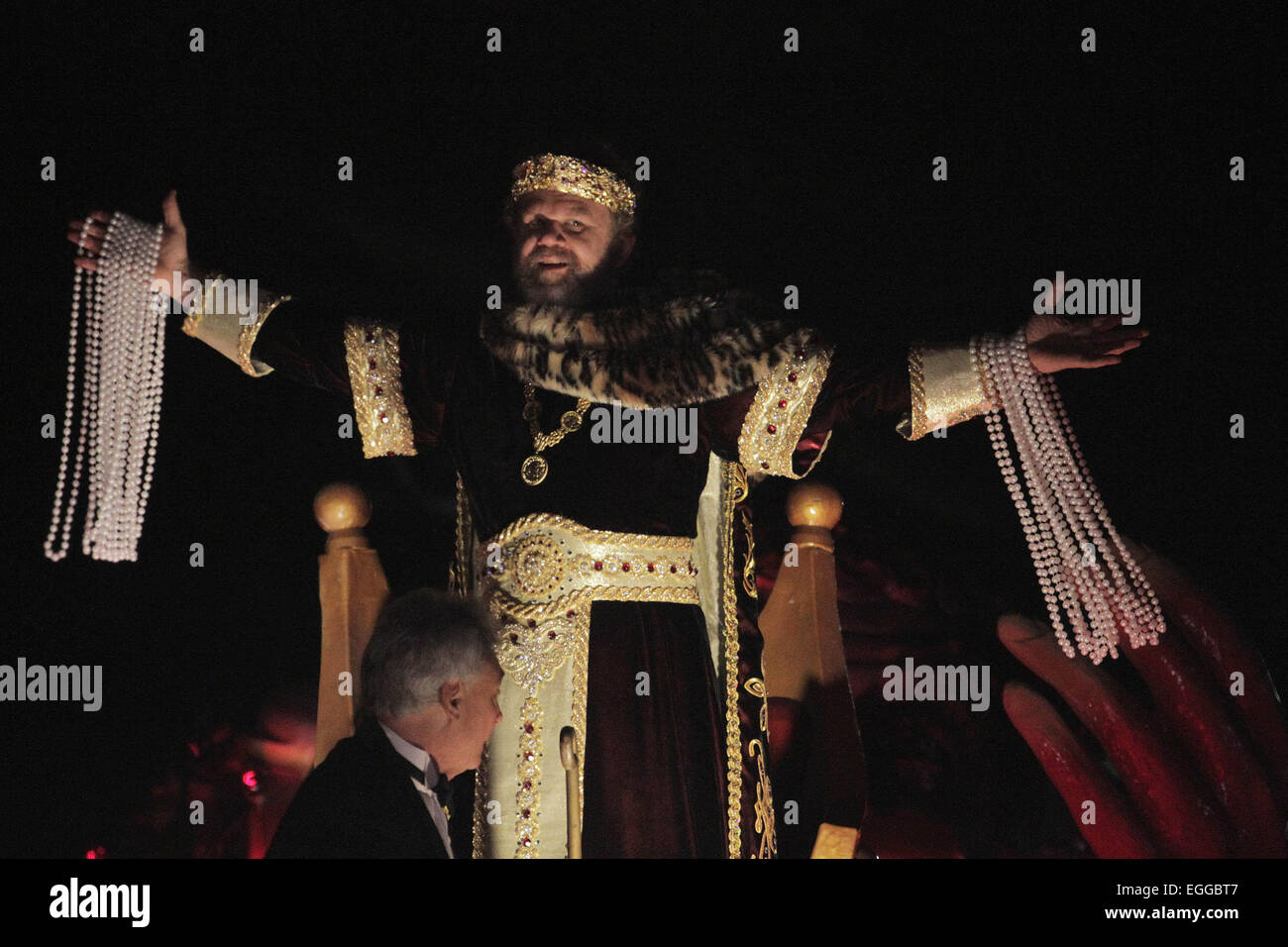 New Orleans, LOUISIANA, USA. 15th Feb, 2015. Actor John C. Reilly reigns as Bacchus XLVI during the Krewe of Bacchus Stock Photo